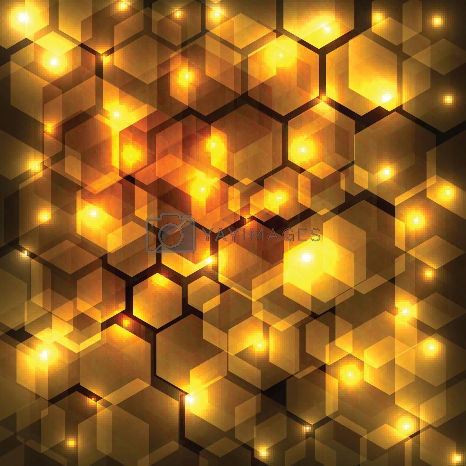 Abstract golden shine hexagon geometric on dark background, Vector illustration