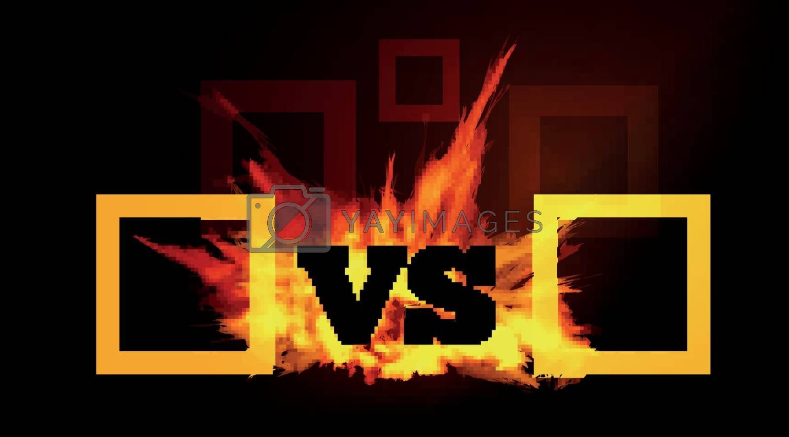 VS comparison of a vector background with a fiery flame on a black background