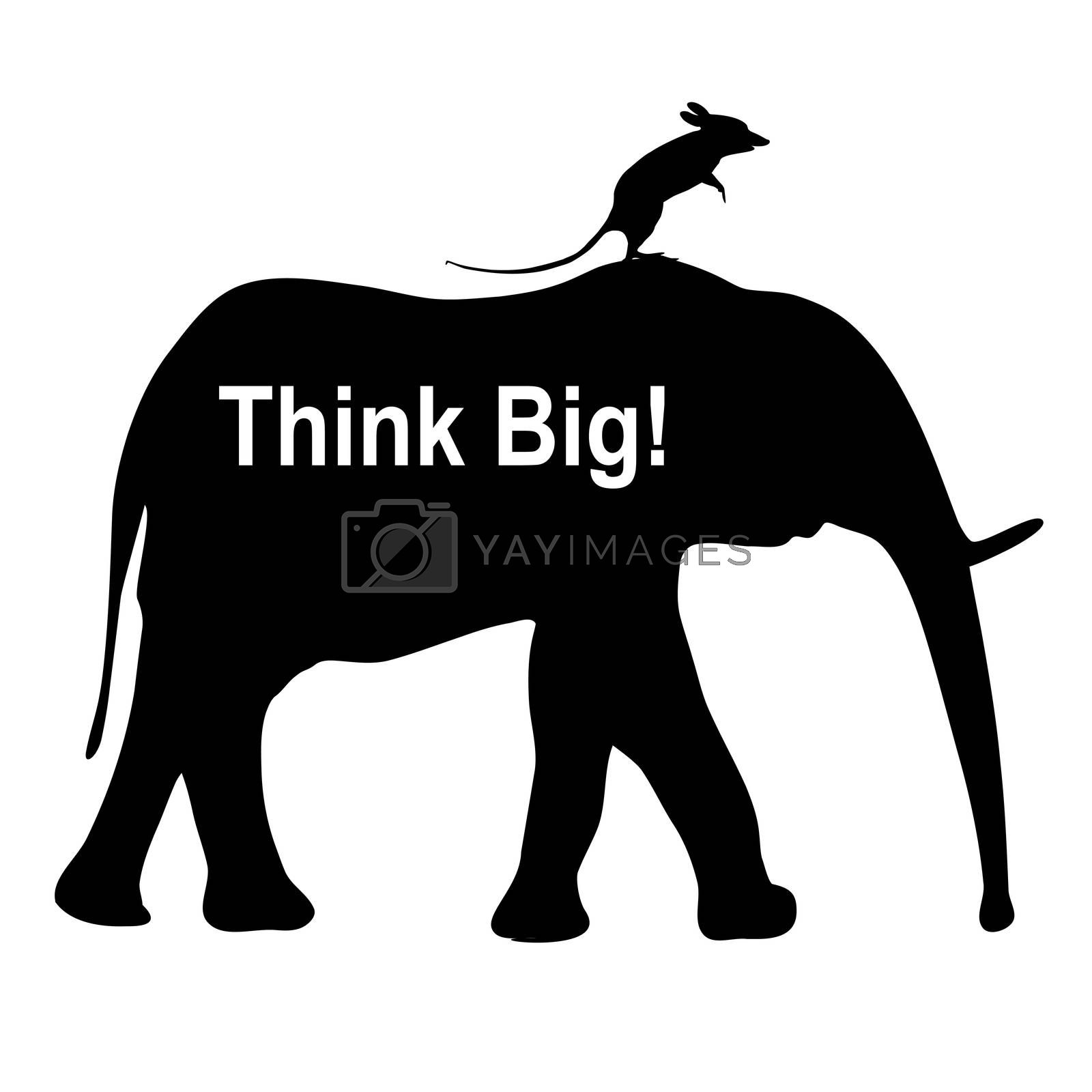 Mouse riding an elephant as business metaphor for imagination and vision