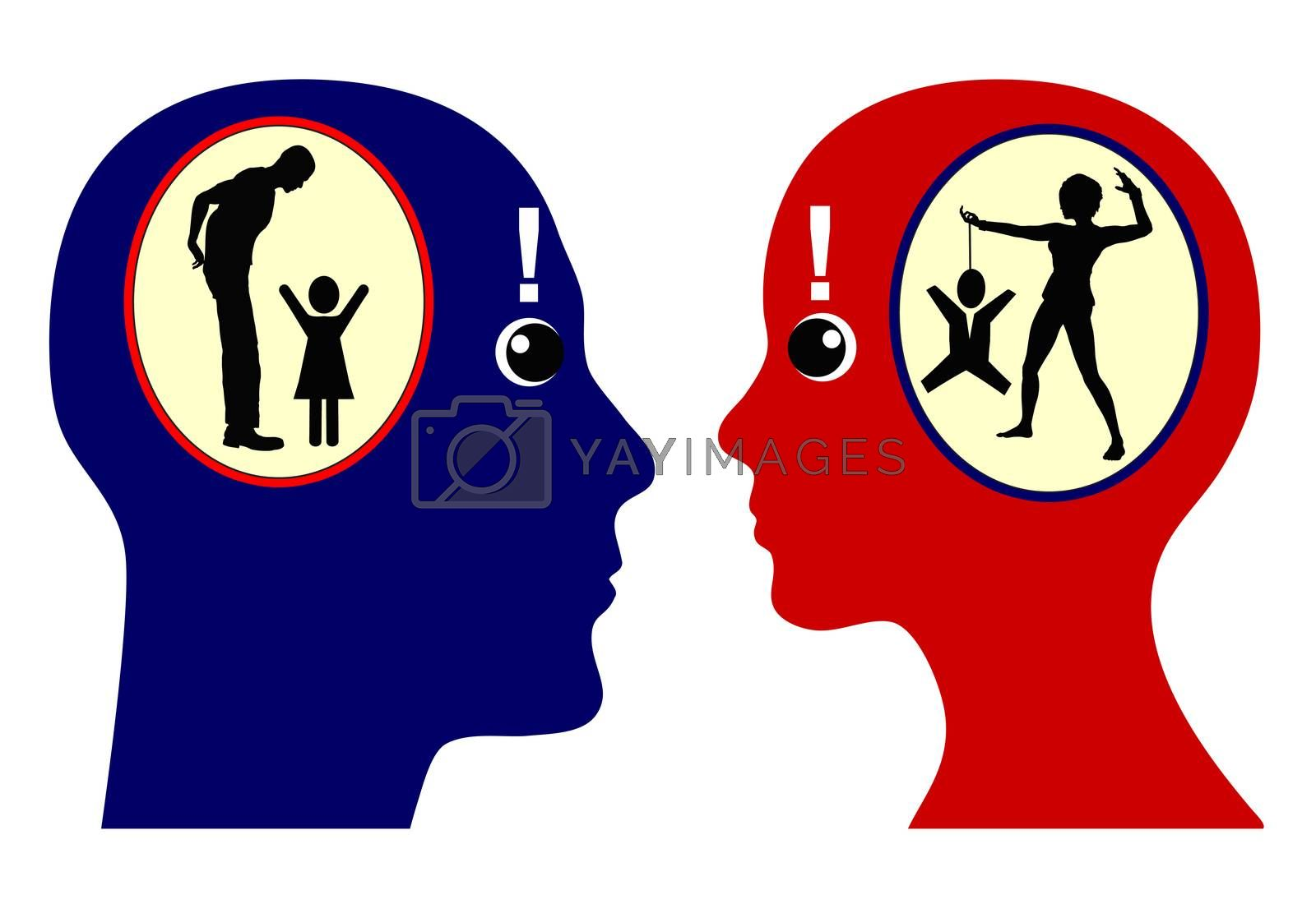 Man and woman with discrepancy between self awareness and external perception, how we see and describe ourselves and how others see and would describe us