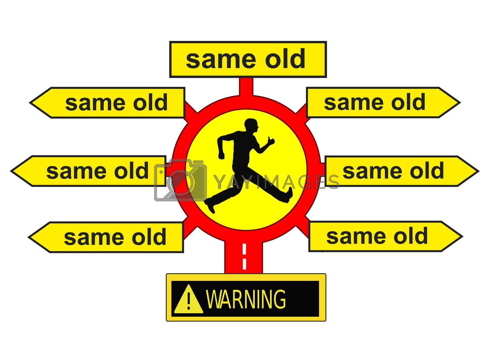 Concept sign for settled habits and conventions which are very stable and difficult to overcome: old habits die hard