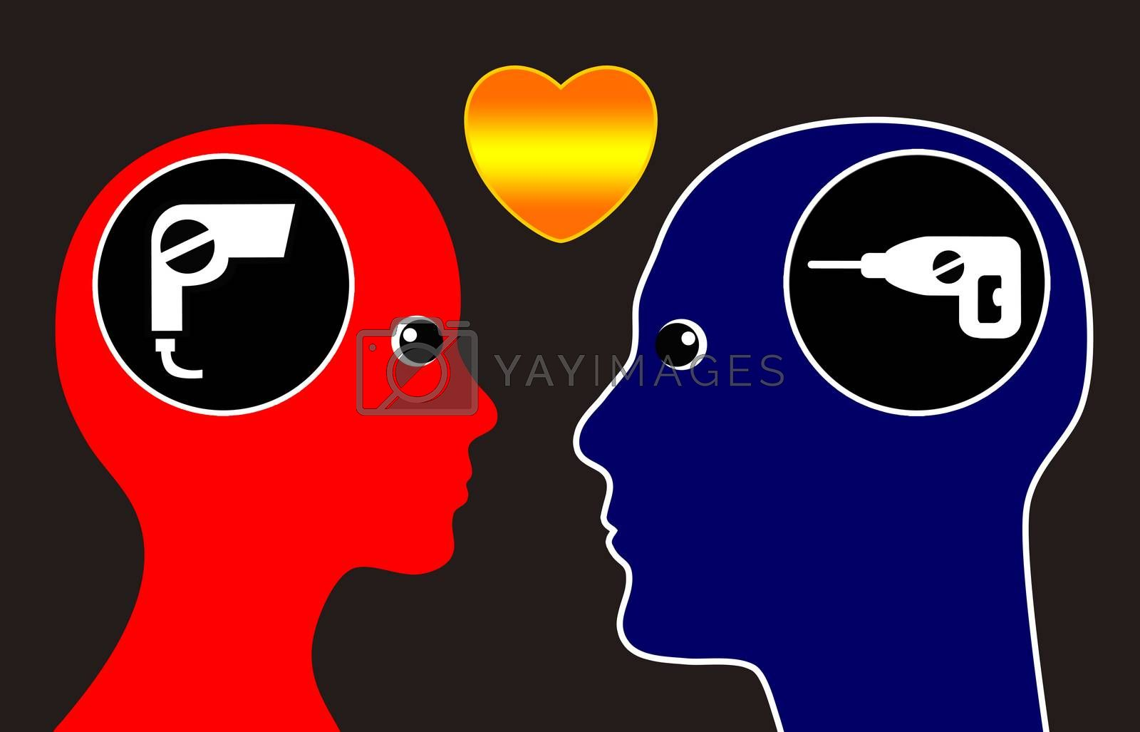 Concept that man and woman are attracted to opposites personalities