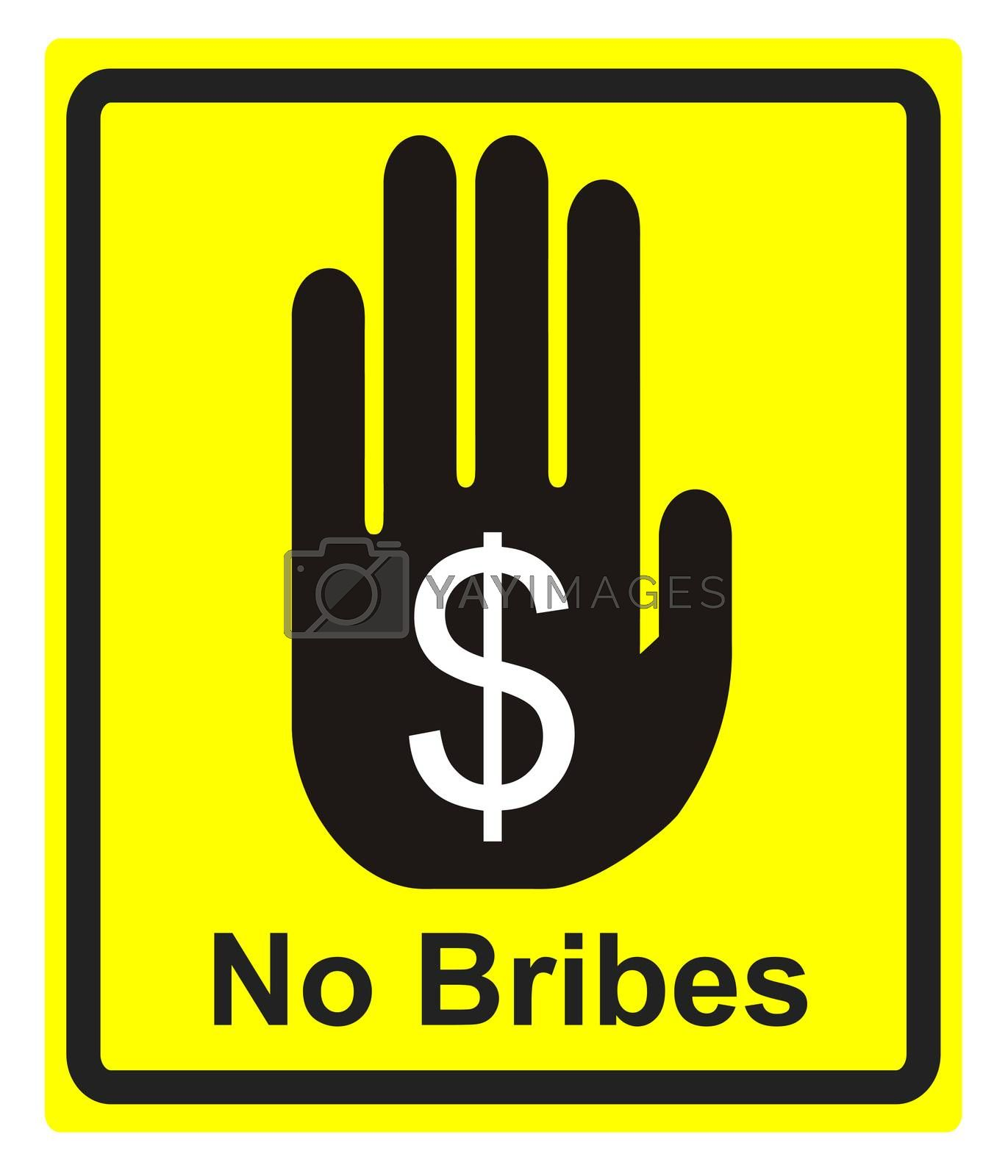 Concept sign to fight against bribes and corruption