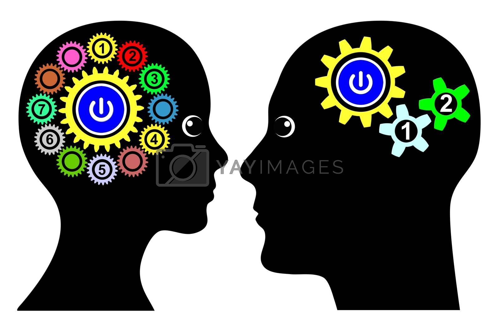 Man and woman with different thinking patterns, multitasking or single tasking when making decision or solving problems