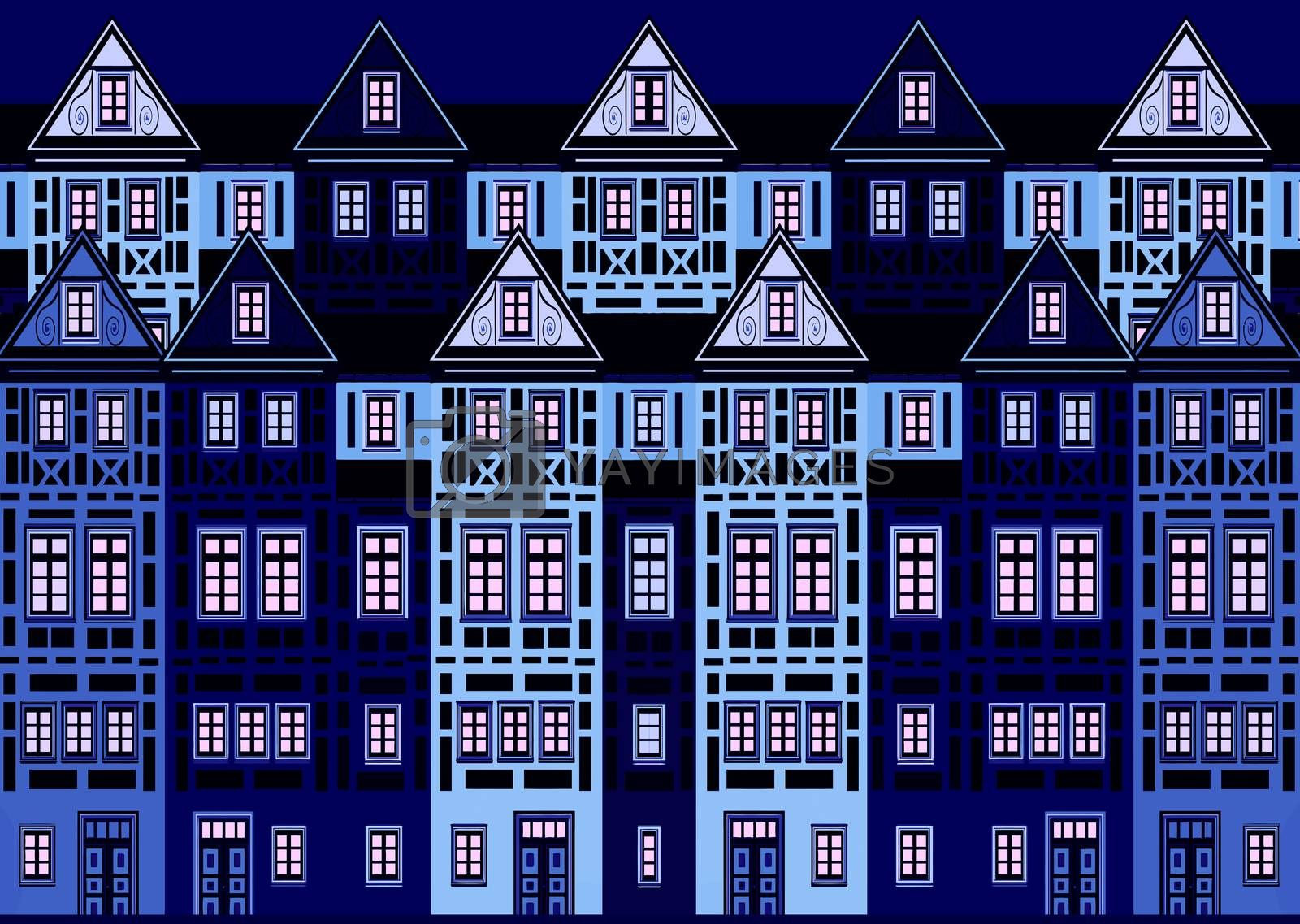 Row of historic Art Nouveau Buildings, horizontally seamless tileable