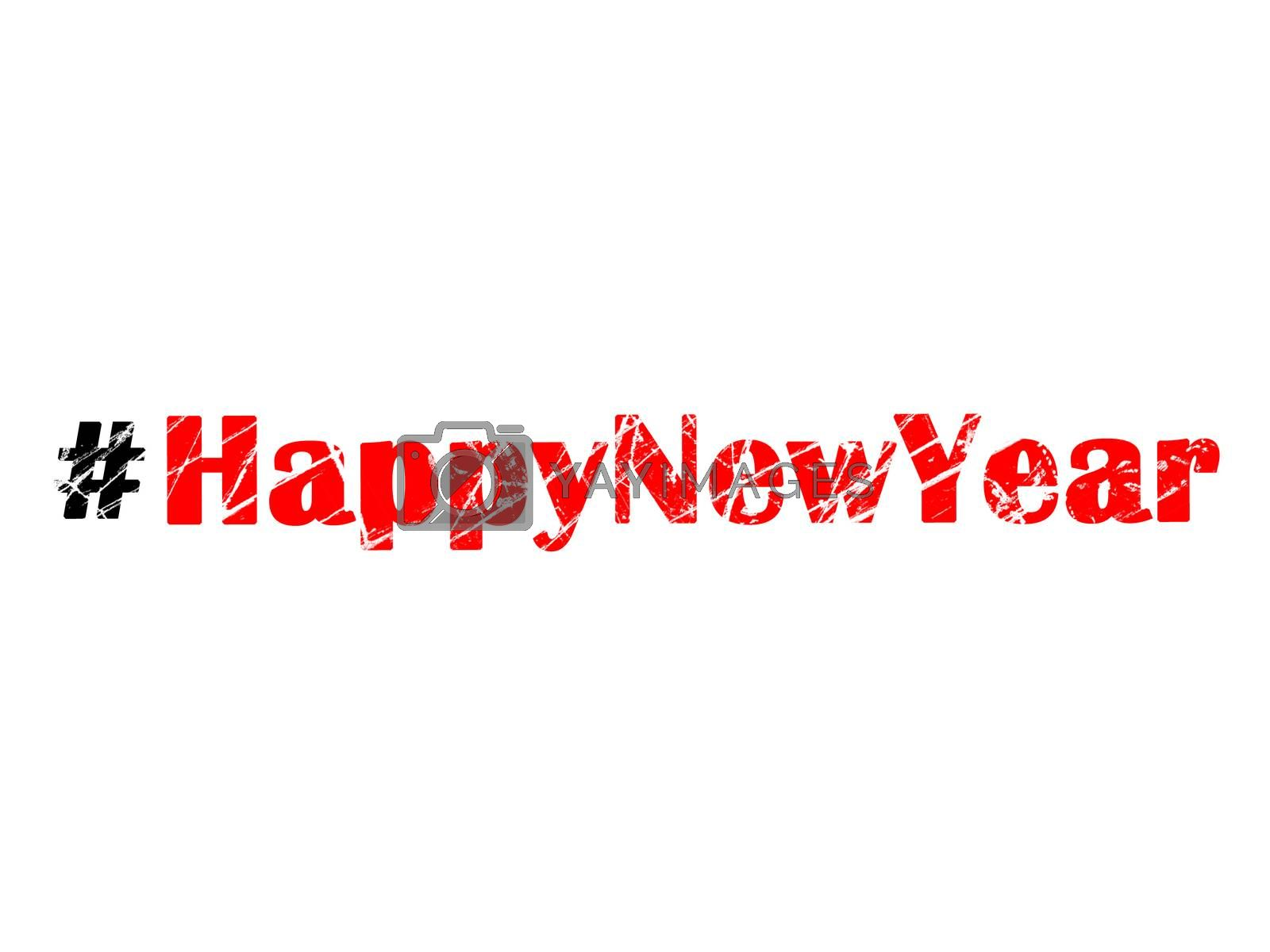 Hashtag Happy New Year on white background by Vaidas Bucys
