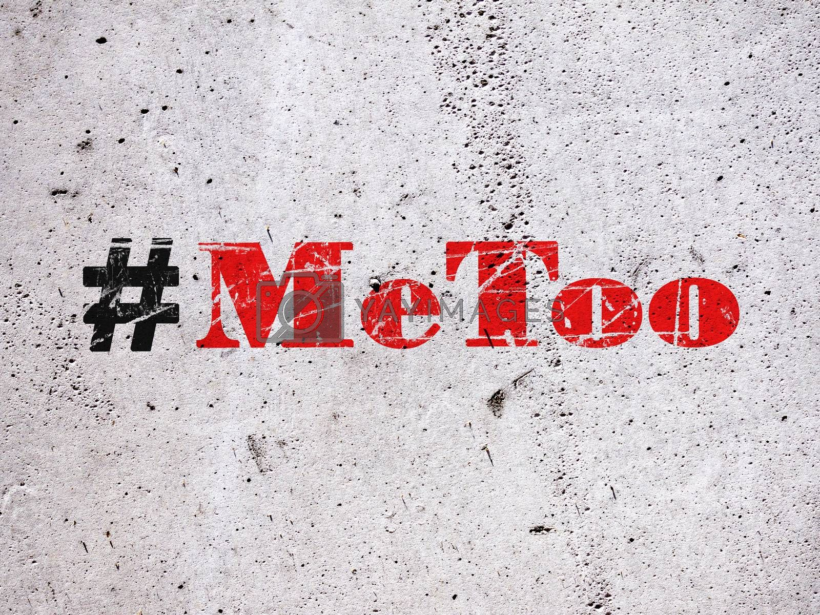 Hashtag Metoo illustration on concrete wall as trending social-media movement against sexual harassment