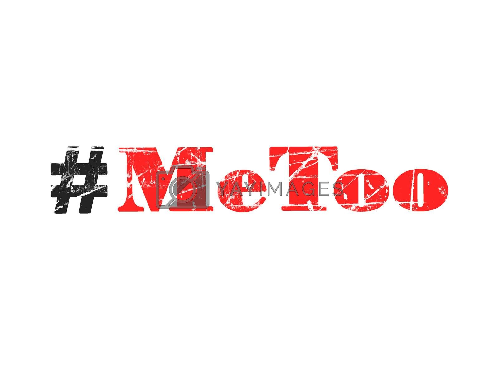 Hashtag Metoo illustration on white background as trending social-media movement against sexual harassment