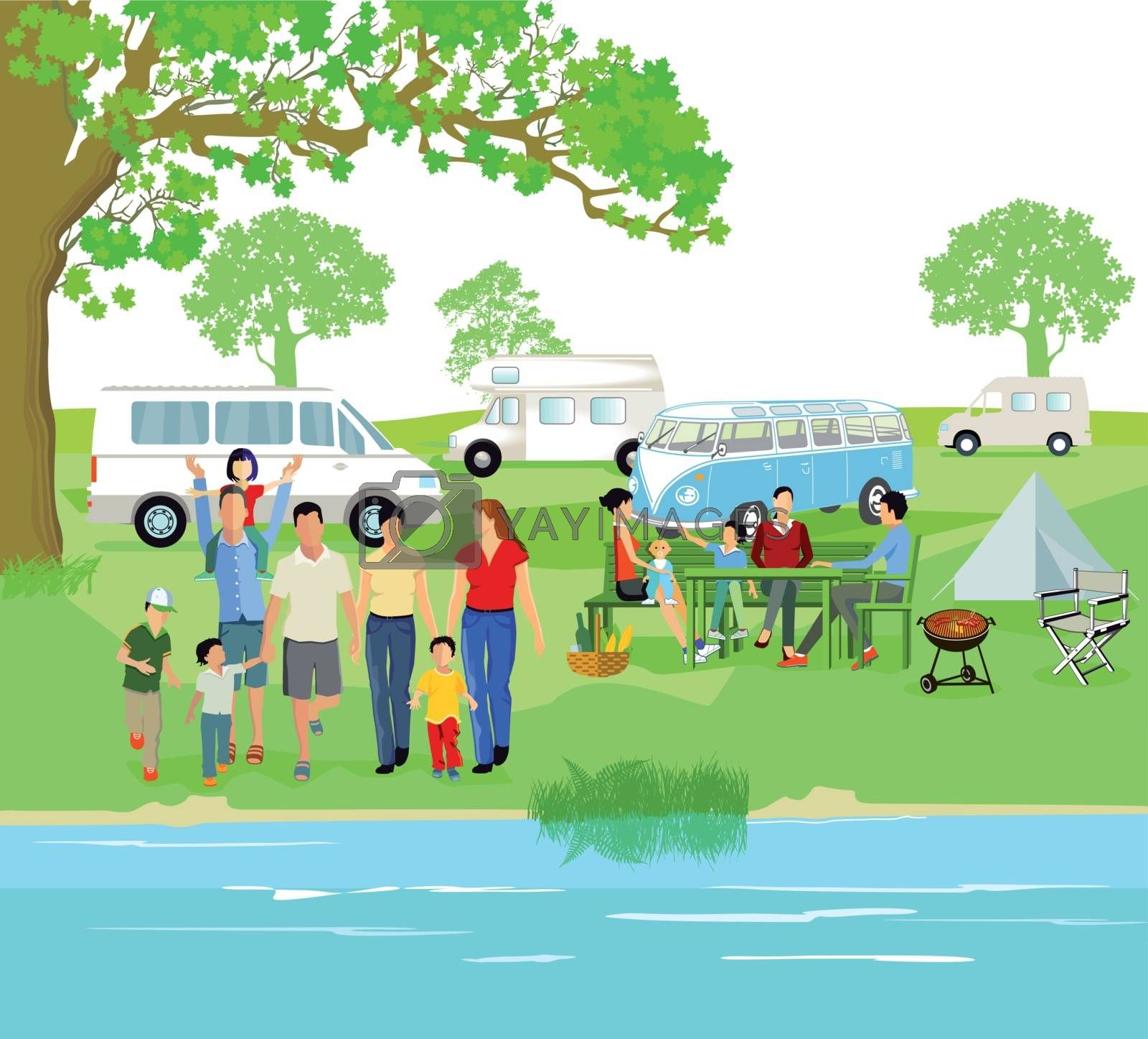 Caravanning with parents and children
