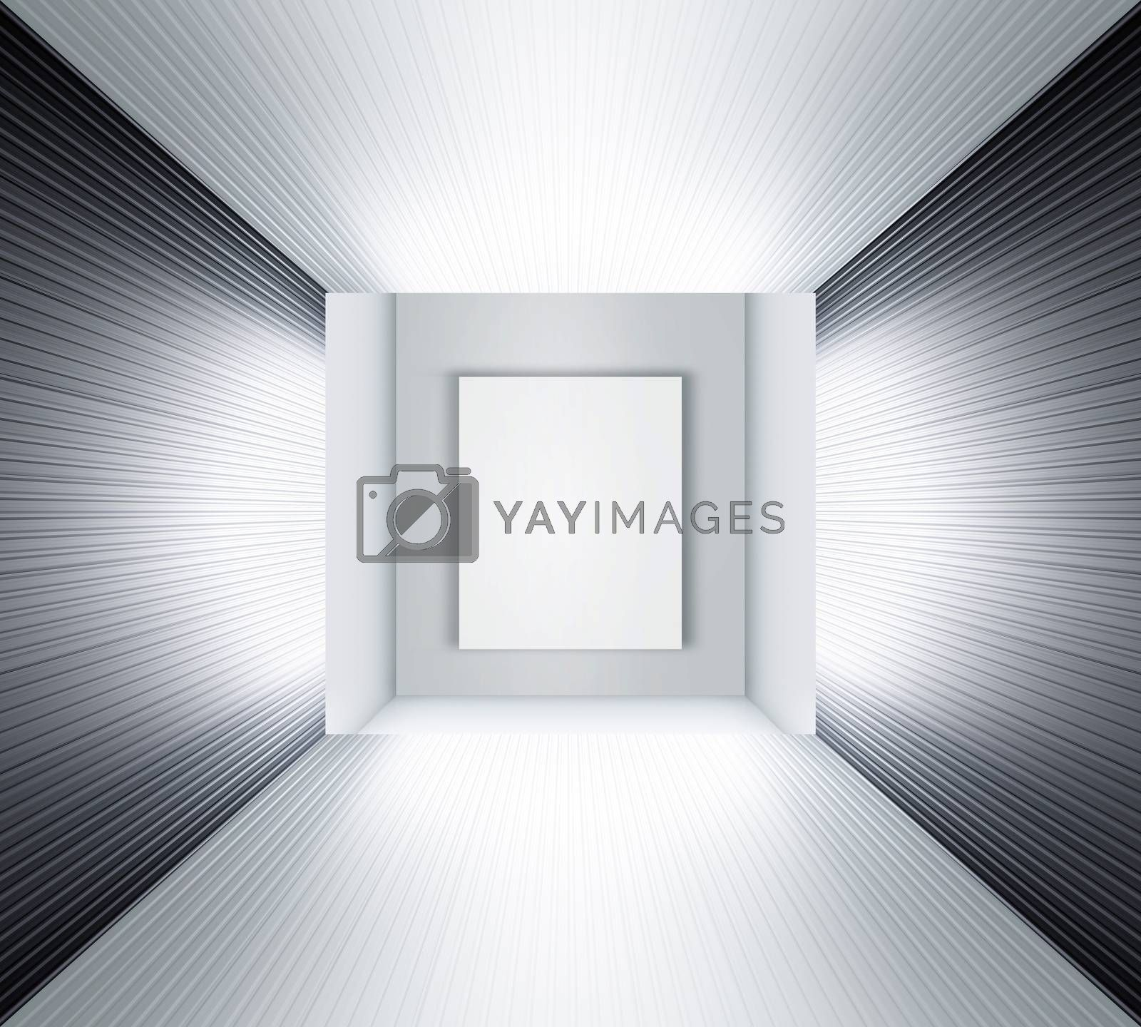 3D illustration of modern white exhibition space like museum or studio