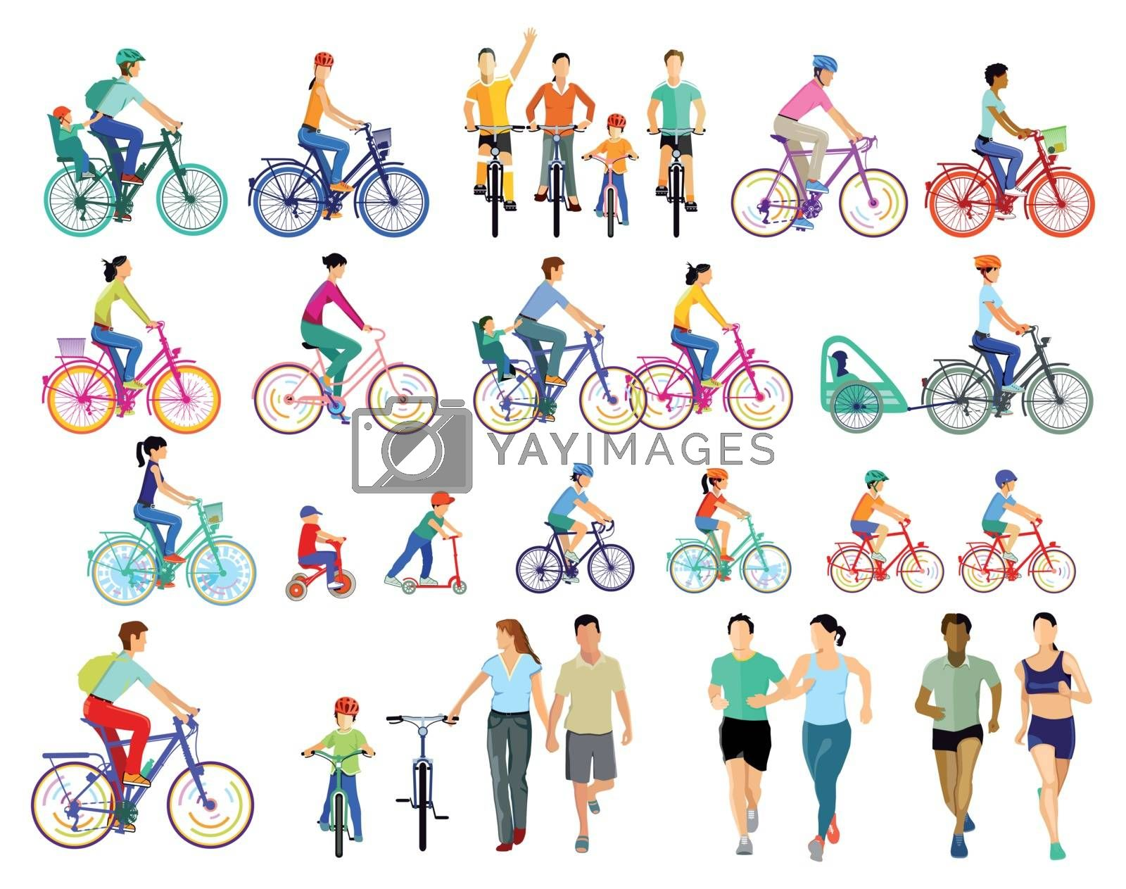 Group of cyclists illustration
