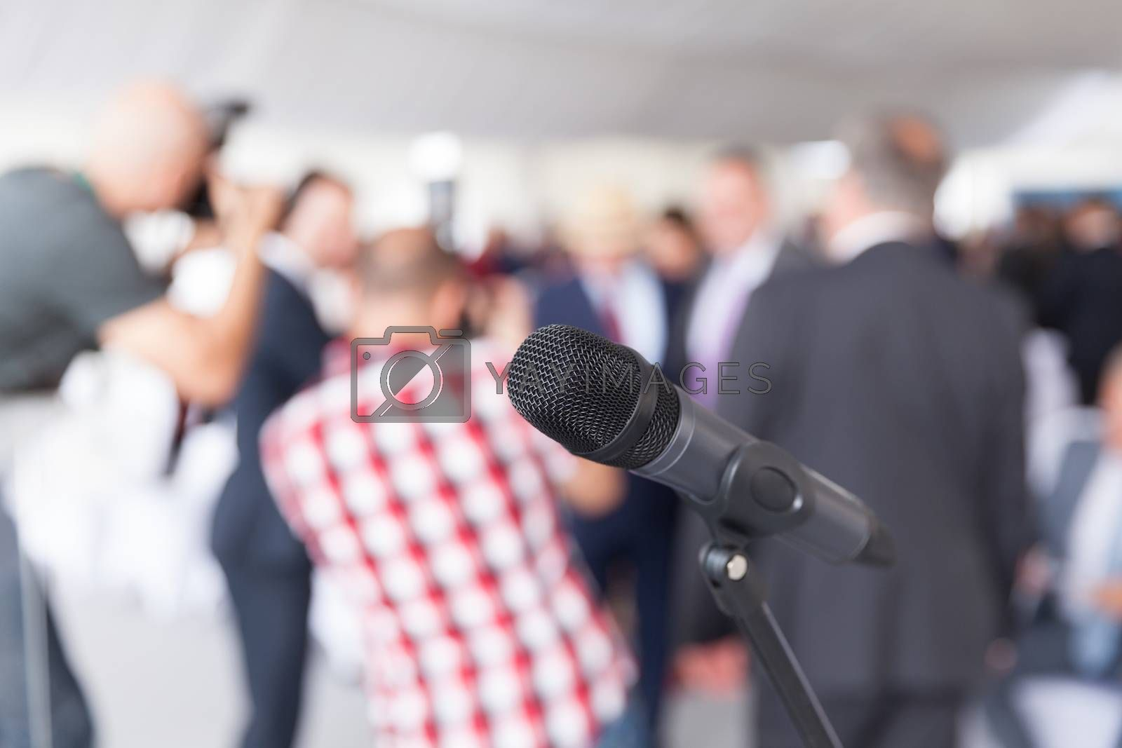 Media event. Press conference. Microphone. by wellphoto