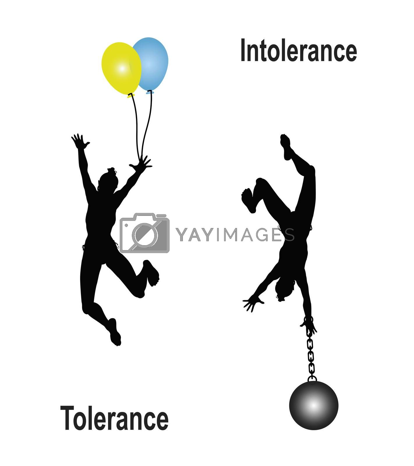 Educational concept sign to plea for tolerance and to free from burdensome prejudices called intolerance