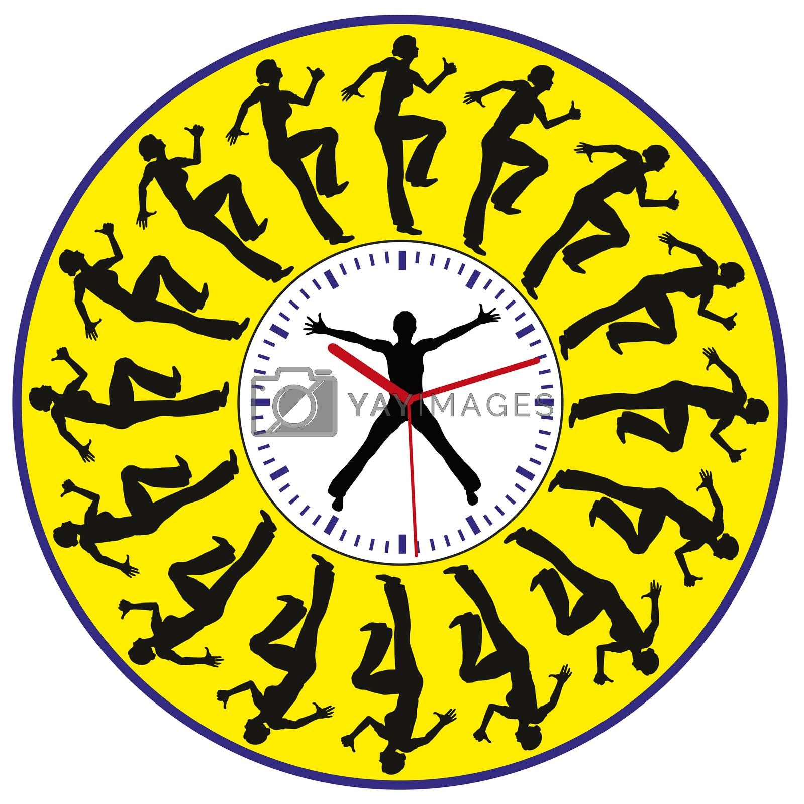 Racing against the Clock. Concept sign of a young woman facing time pressure all day long