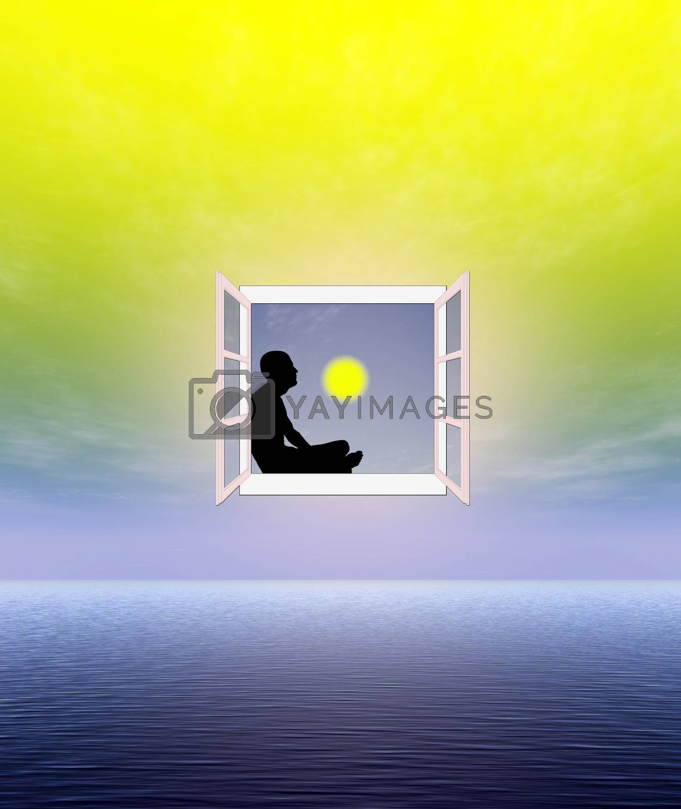 Concept of a meditative person contemplating and relaxing in his spiritual world