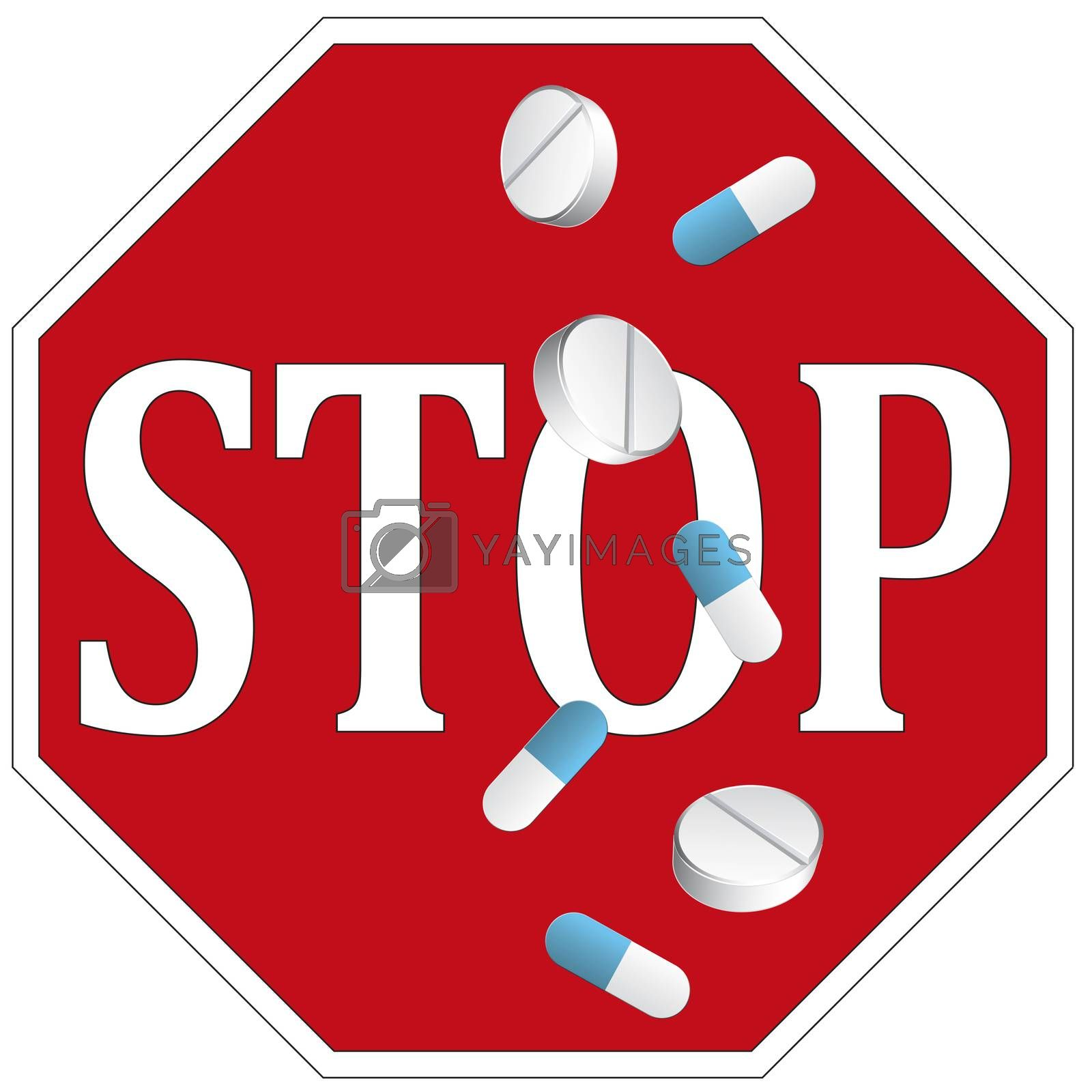 End abusing medication. Sign and concept to stop taking pills