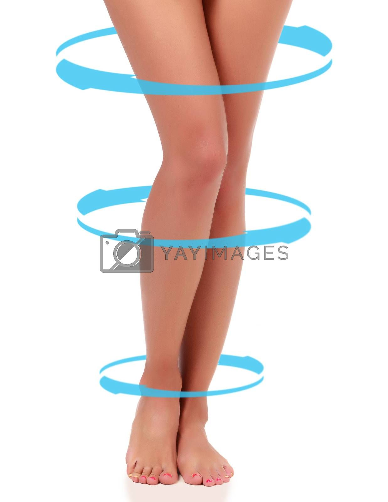 Woman's legs with blue arrows rotating around them, isolated on white background, copyspace. Skincare concept.