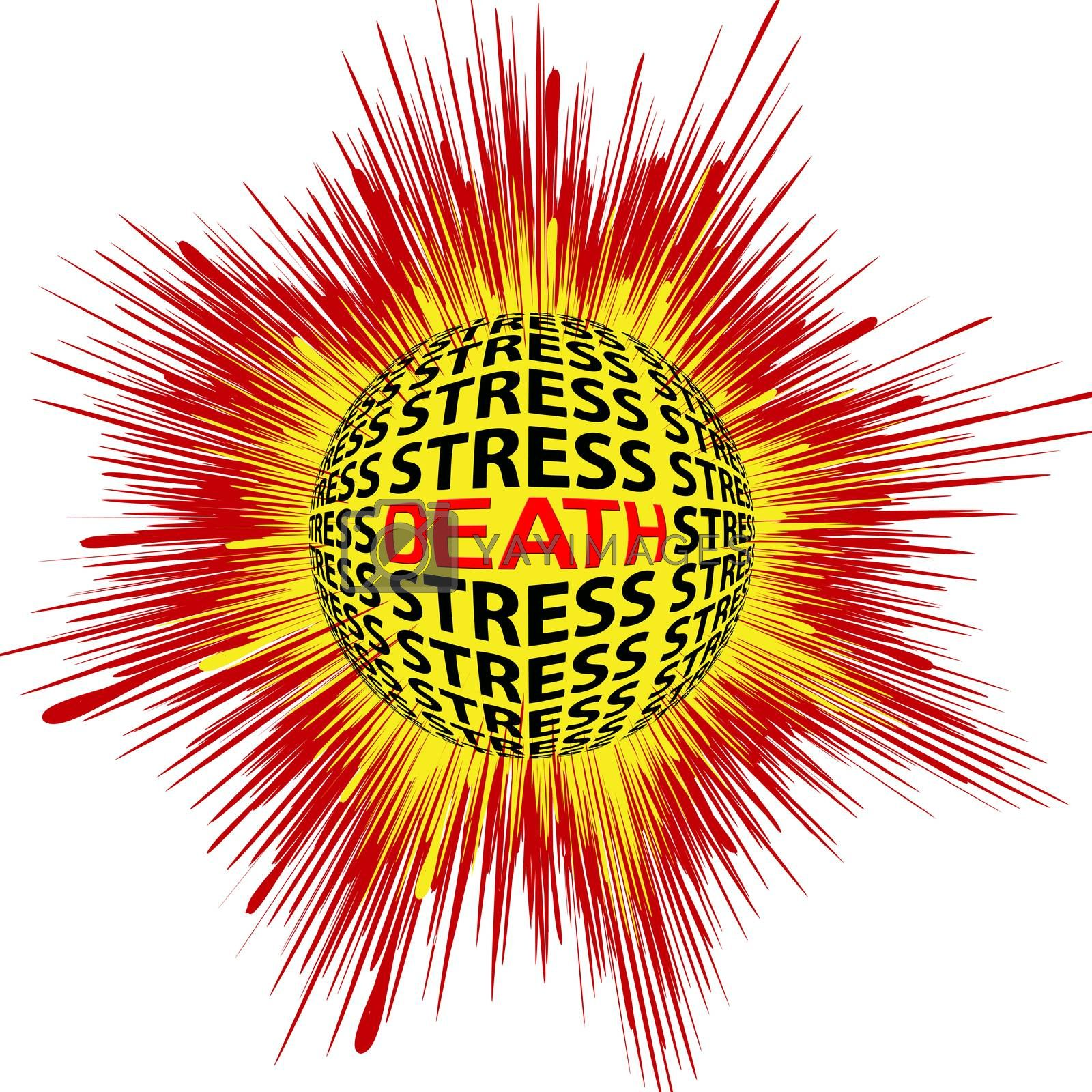 Death through Stress. Concept sign for health risk trough psychic strain