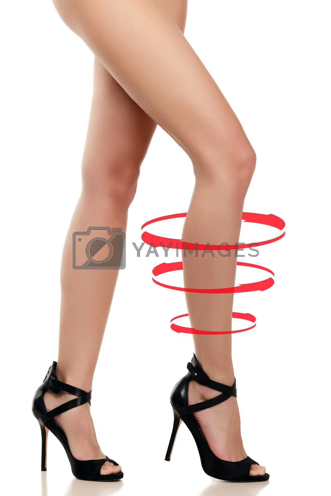Long female legs on a white background, isolated on white background