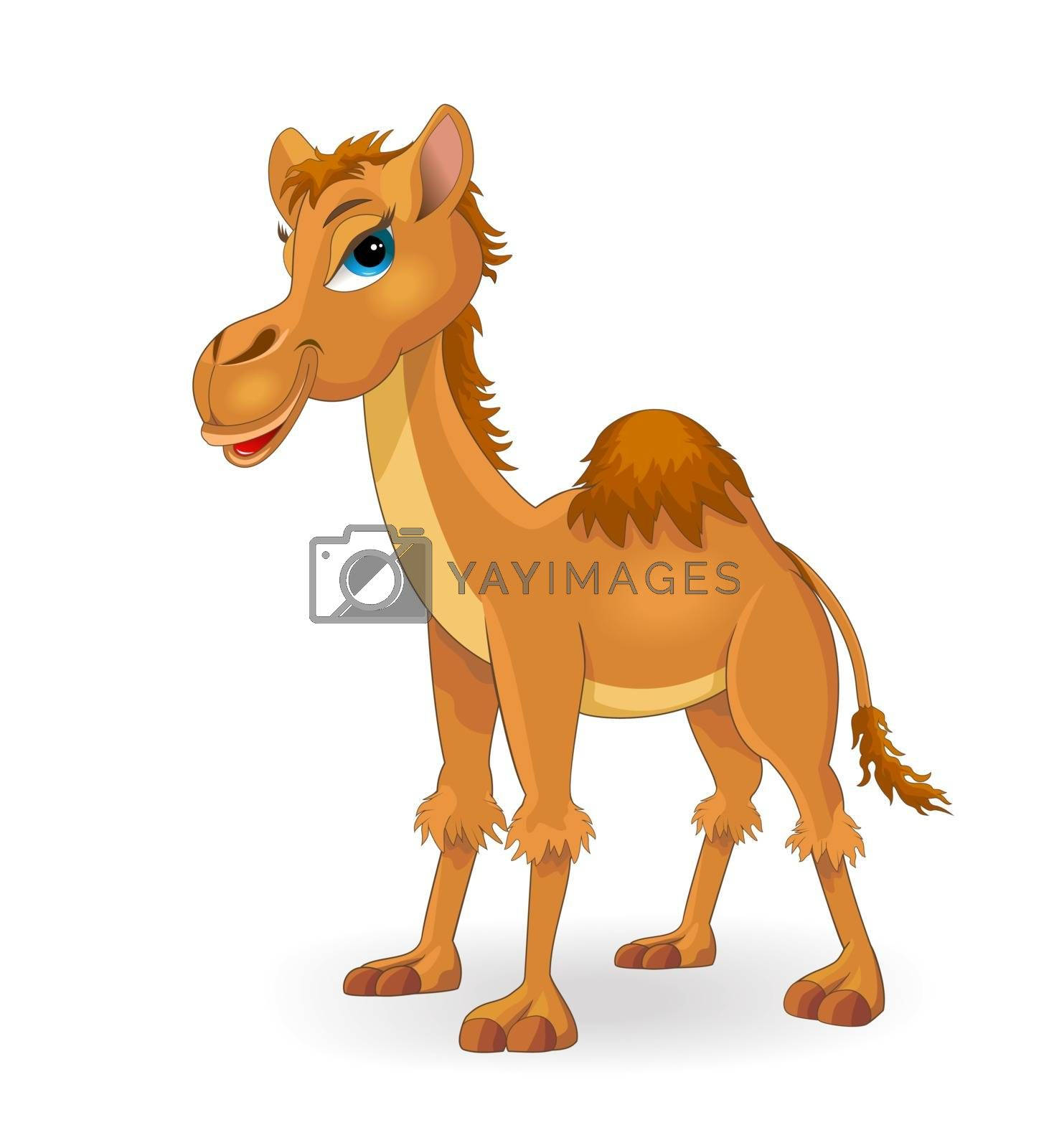 Cartoon camel of brown color on a white background.