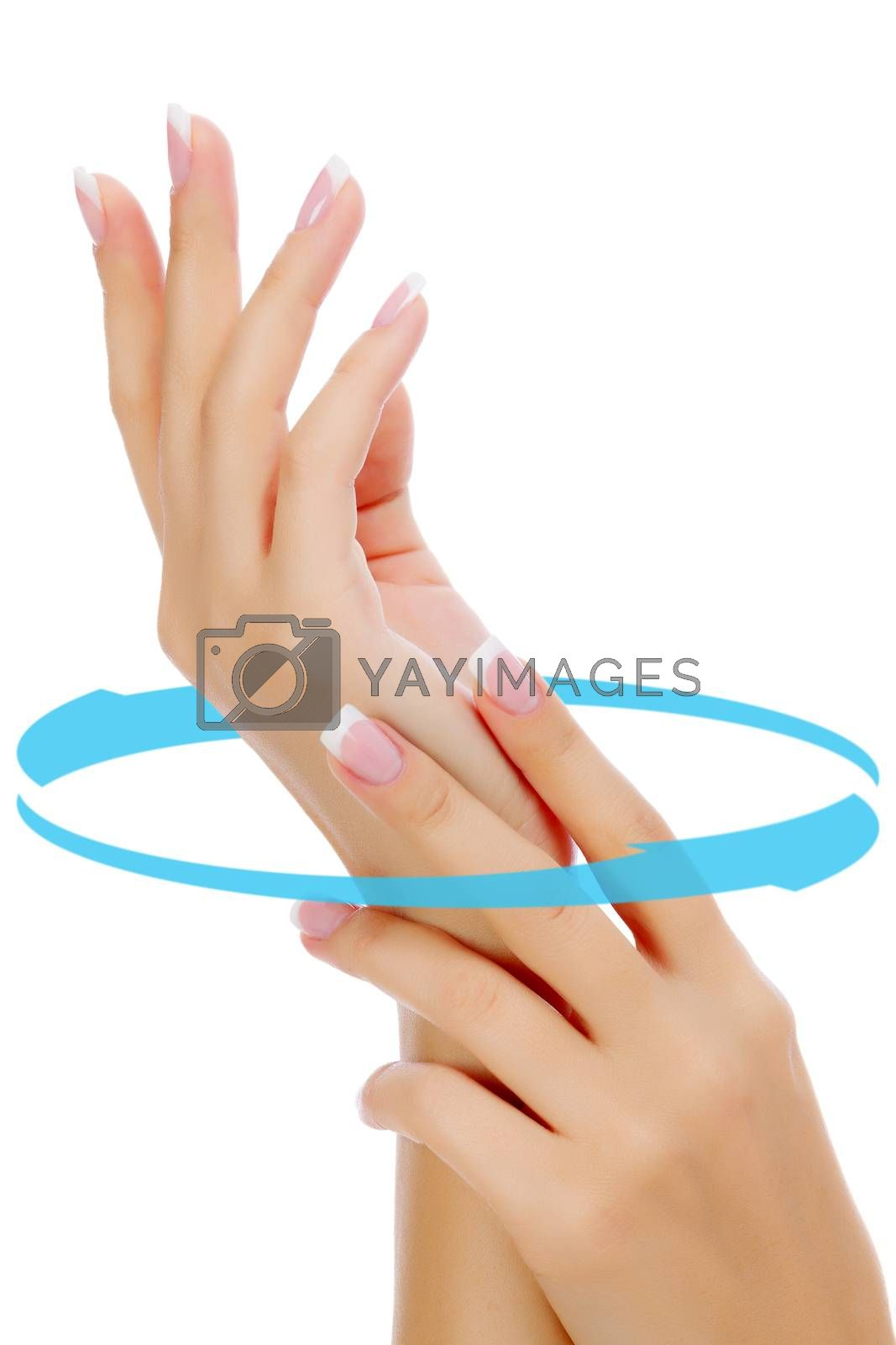 Female hands isolated on white background