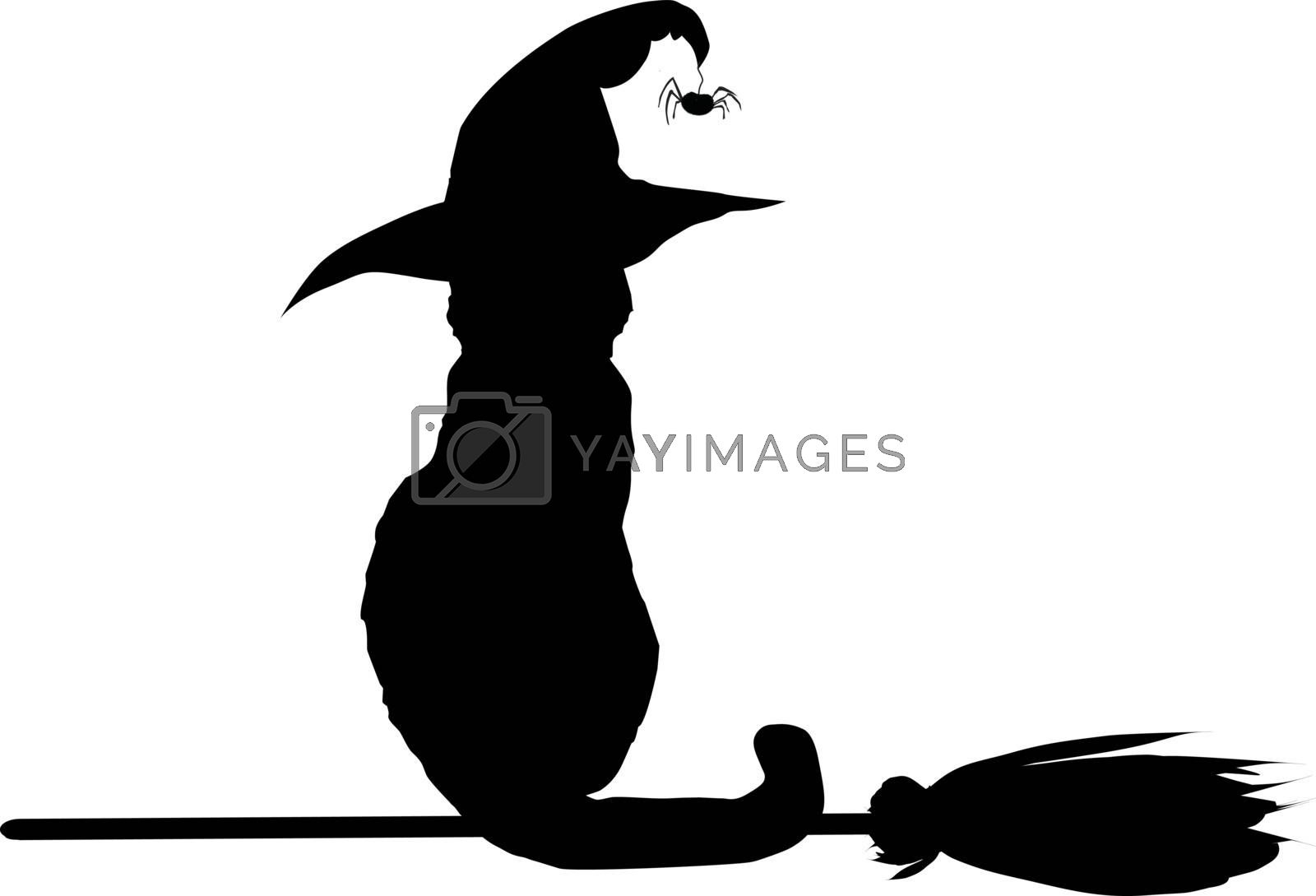 Silhouette Of Black Cat In Witch Hat Sitting On Broomstick Isola Royalty Free Stock Image Yayimages Royalty Free Stock Photos And Vectors