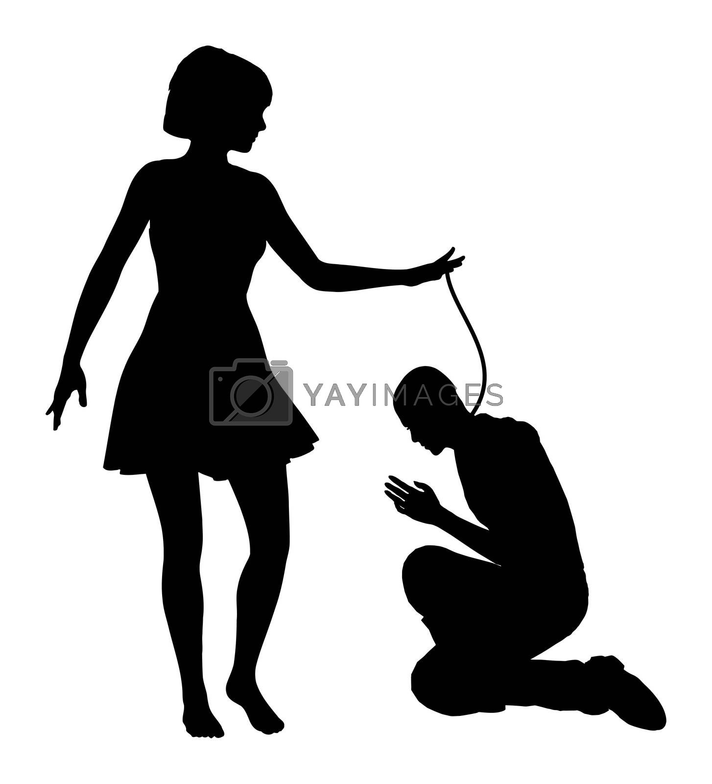 Dominated Man. Woman treating man like slave, concept of oppression and domination