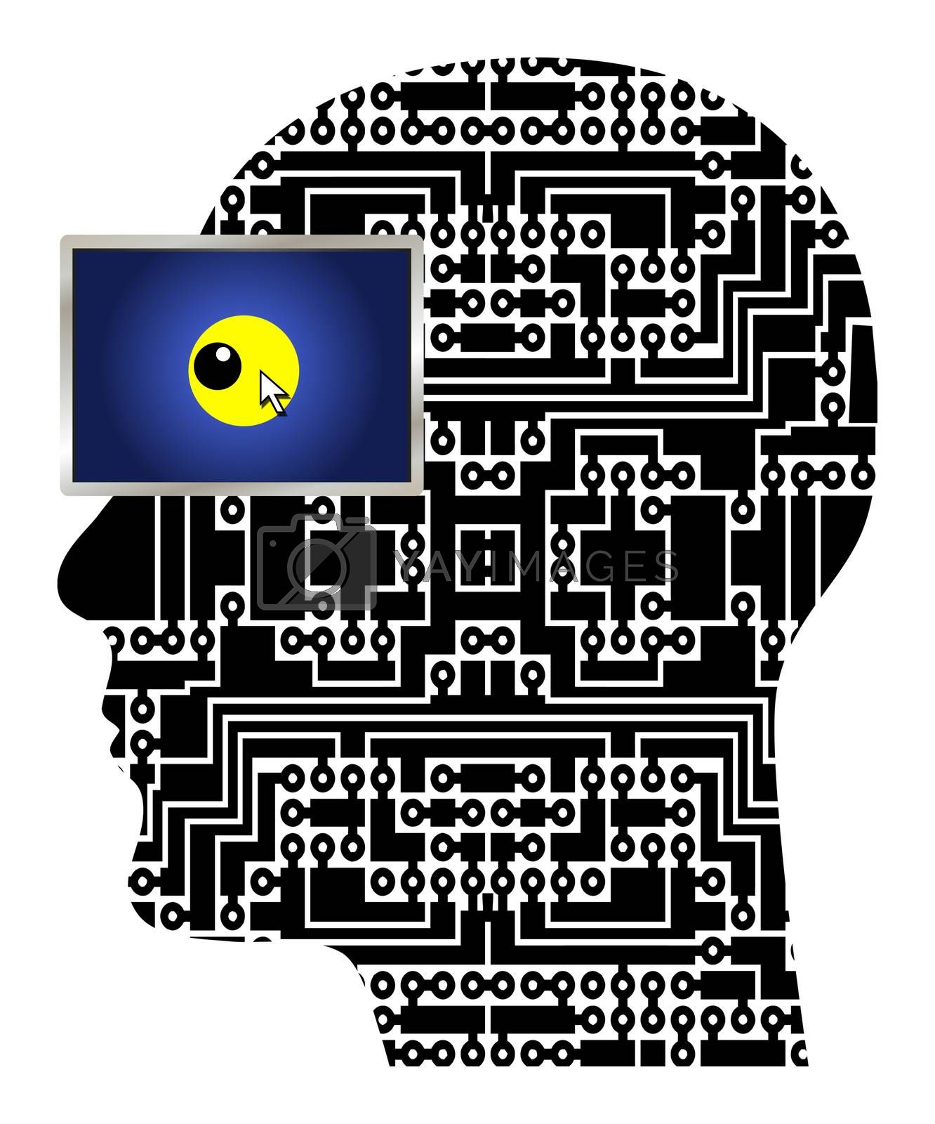 Computer Nerd, Computer Idiot, Computer Geek. Symbol and concept for a computer addict