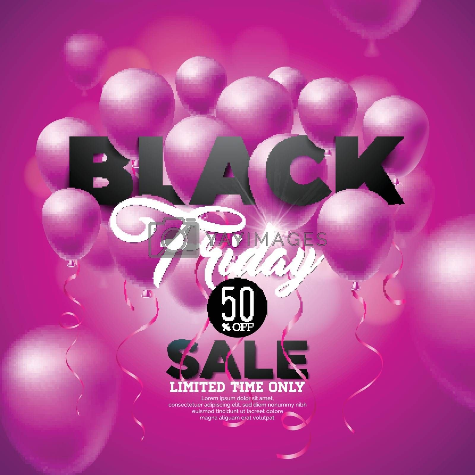 Black Friday Sale Vector Illustration with Shiny Balloons on Violet Background