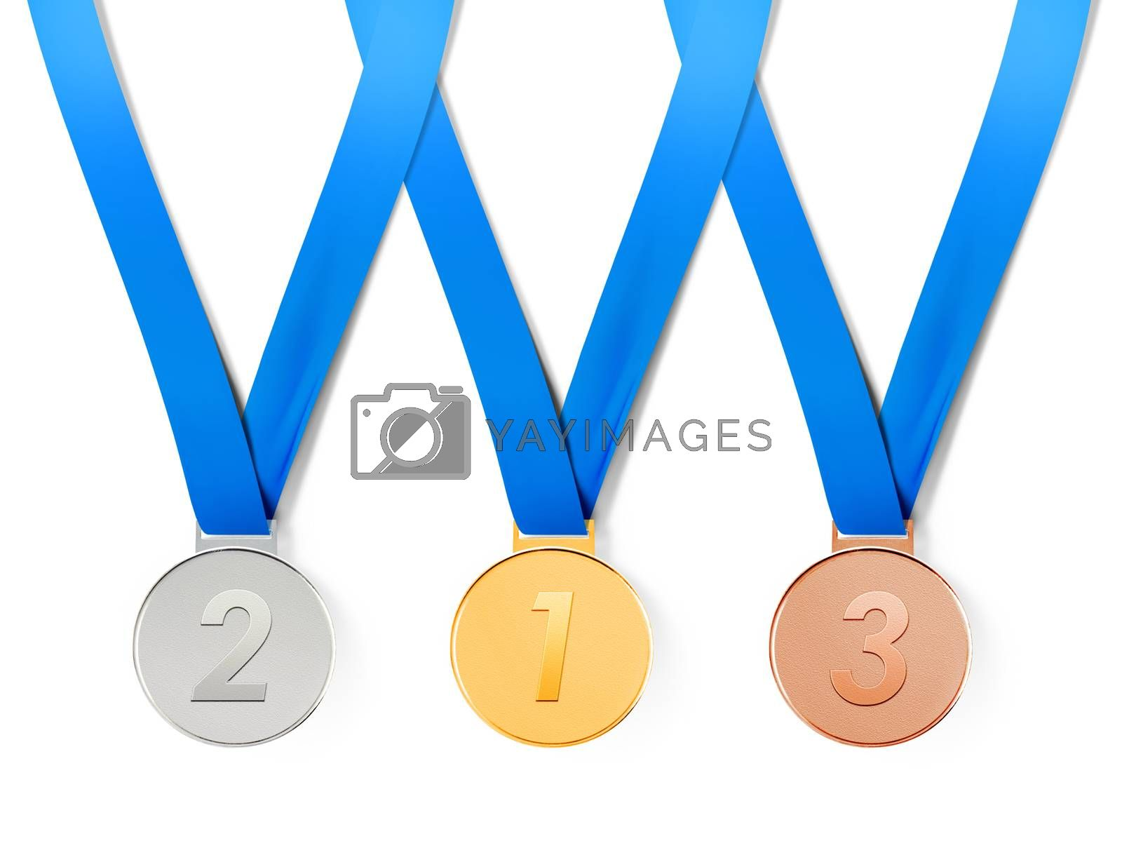 Collection of sports medals on white background with path