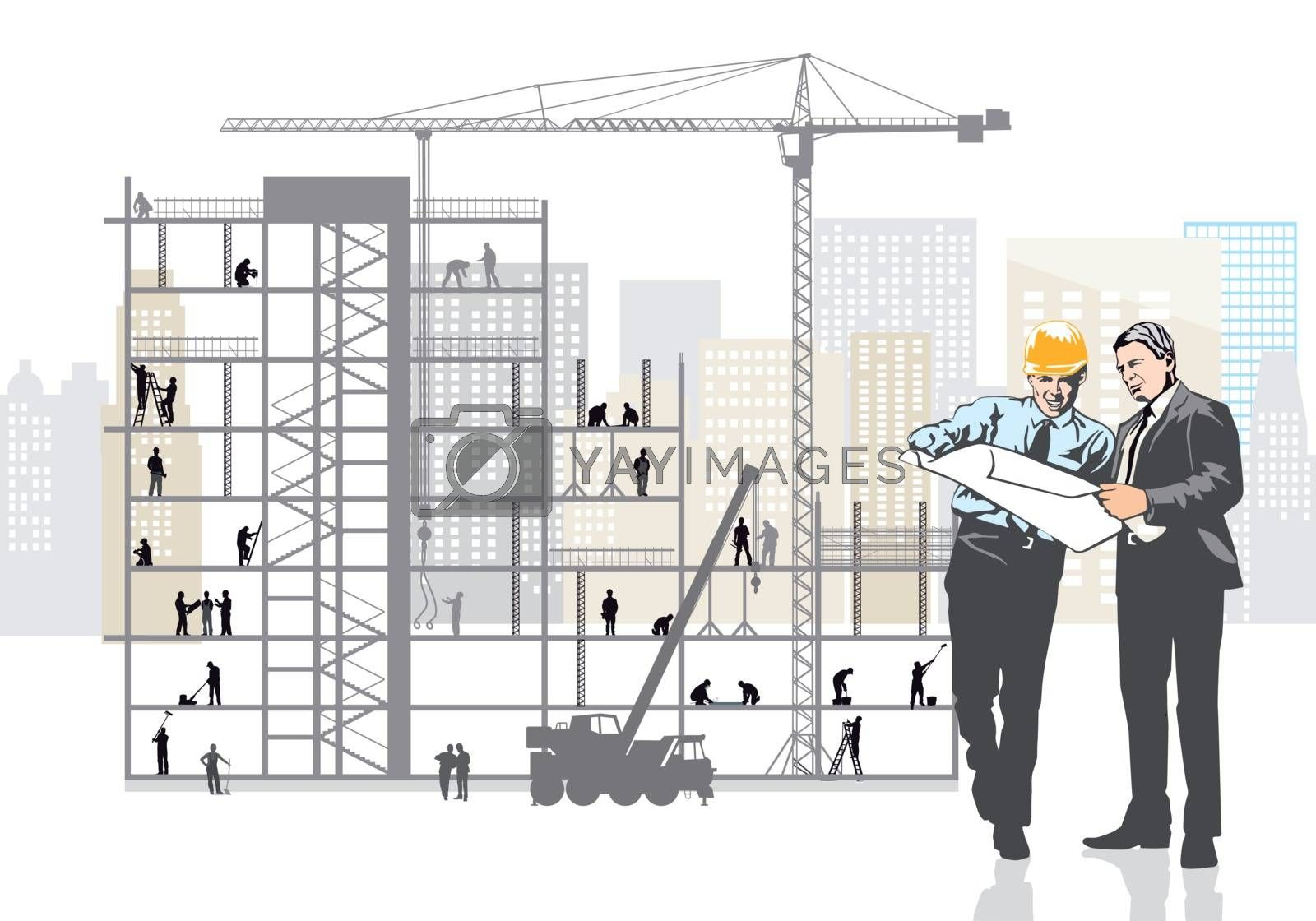 Architect and client are planning on the construction site