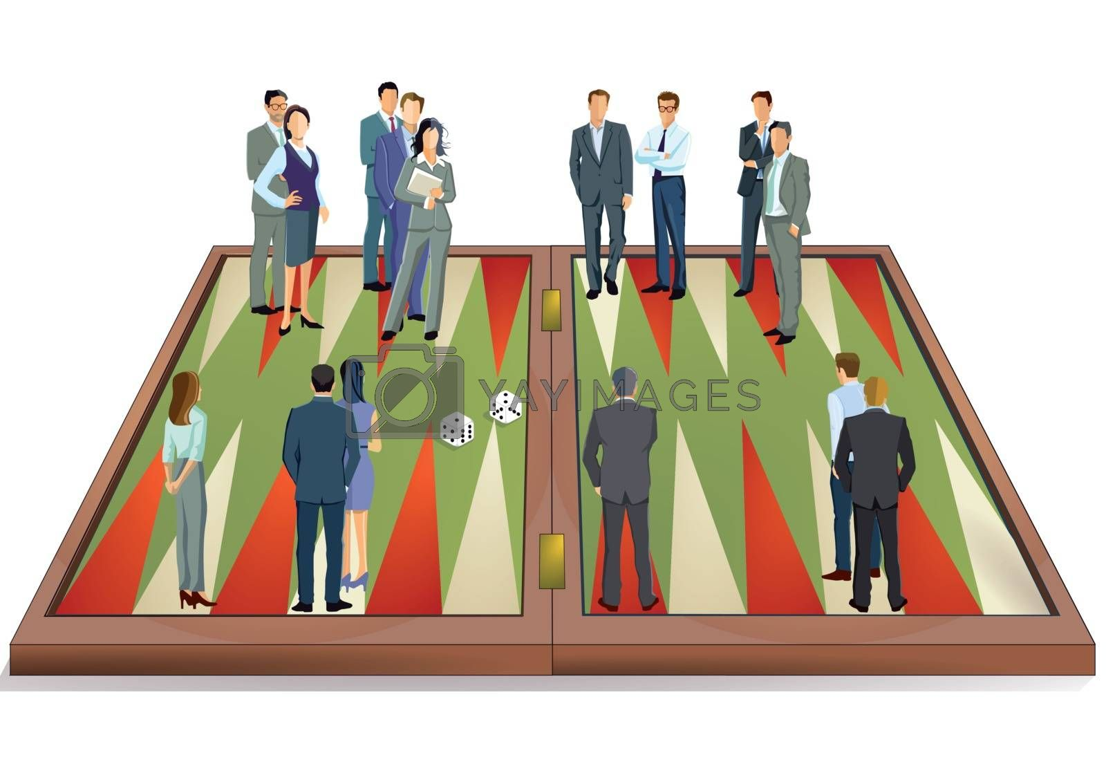 Backgammon game concept, illustration