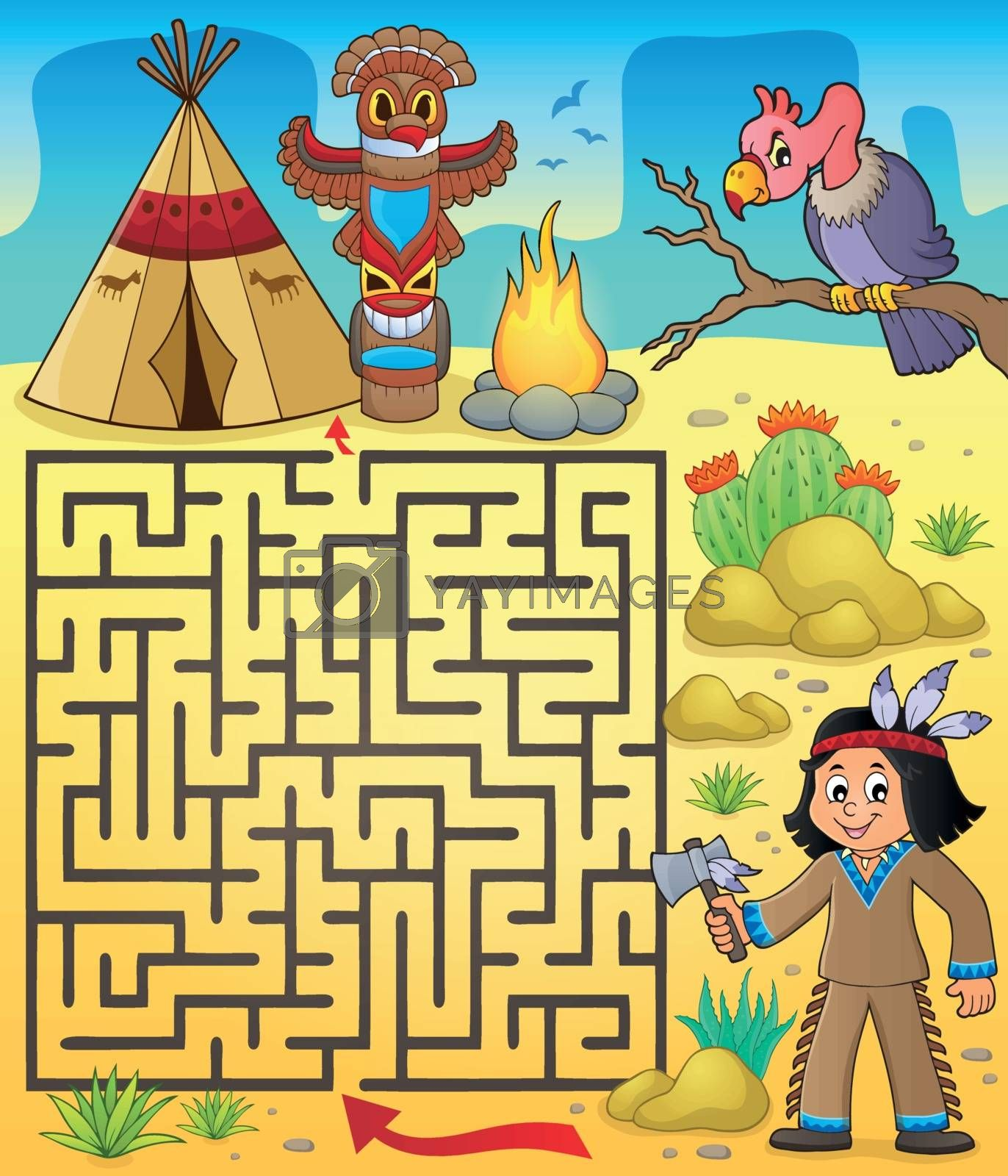 Maze 3 with Native American boy - eps10 vector illustration.