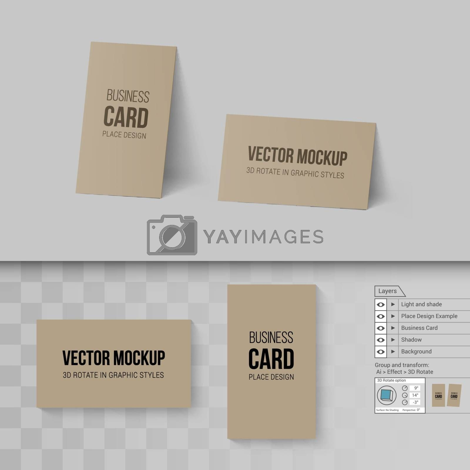 Brown Business Cards Template. Mock Up with 3D Rotate Options on Gray and Transparent Background