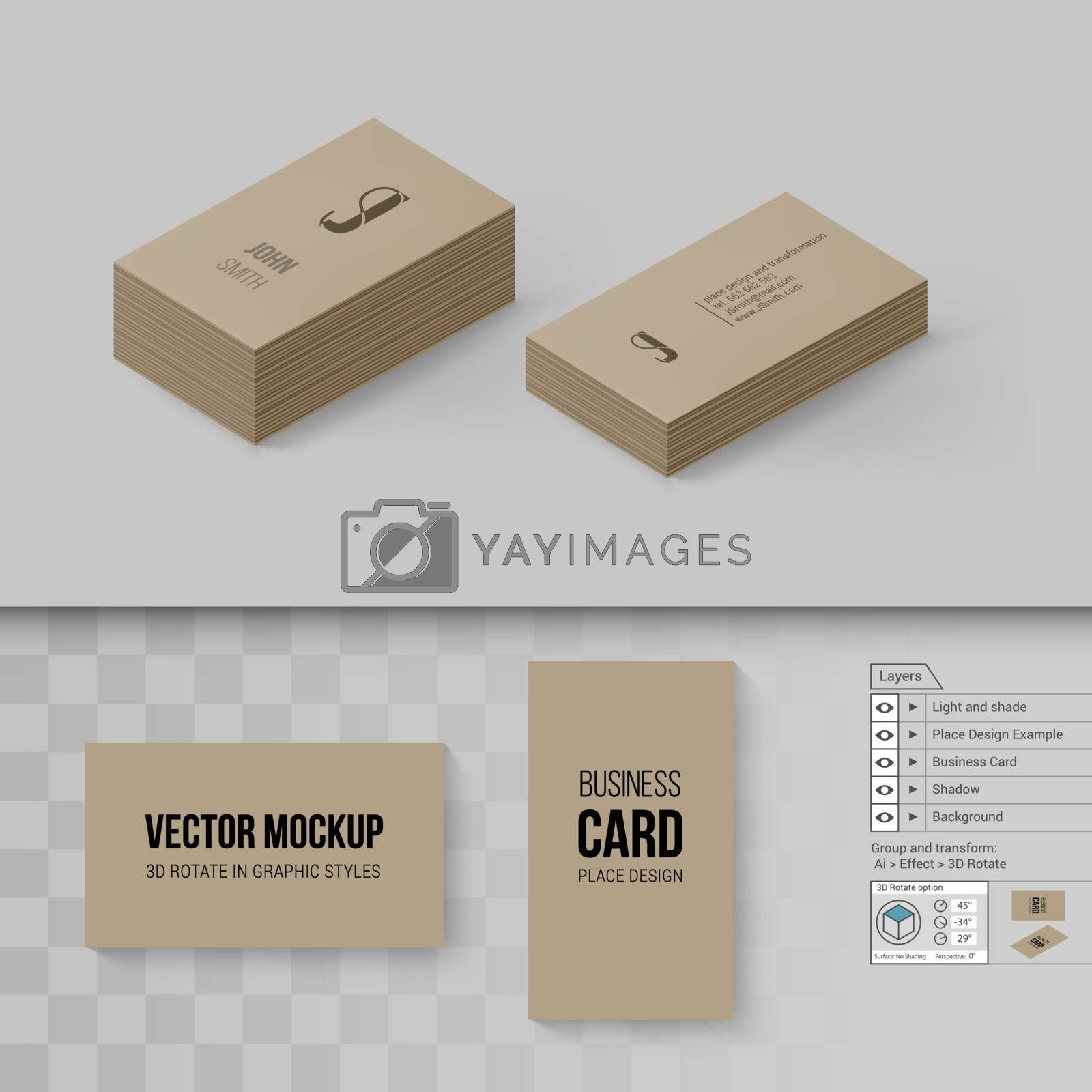 Brown Business Cards Template. Branding Mock Up with 3D Rotate Options on Gray and Transparent Background