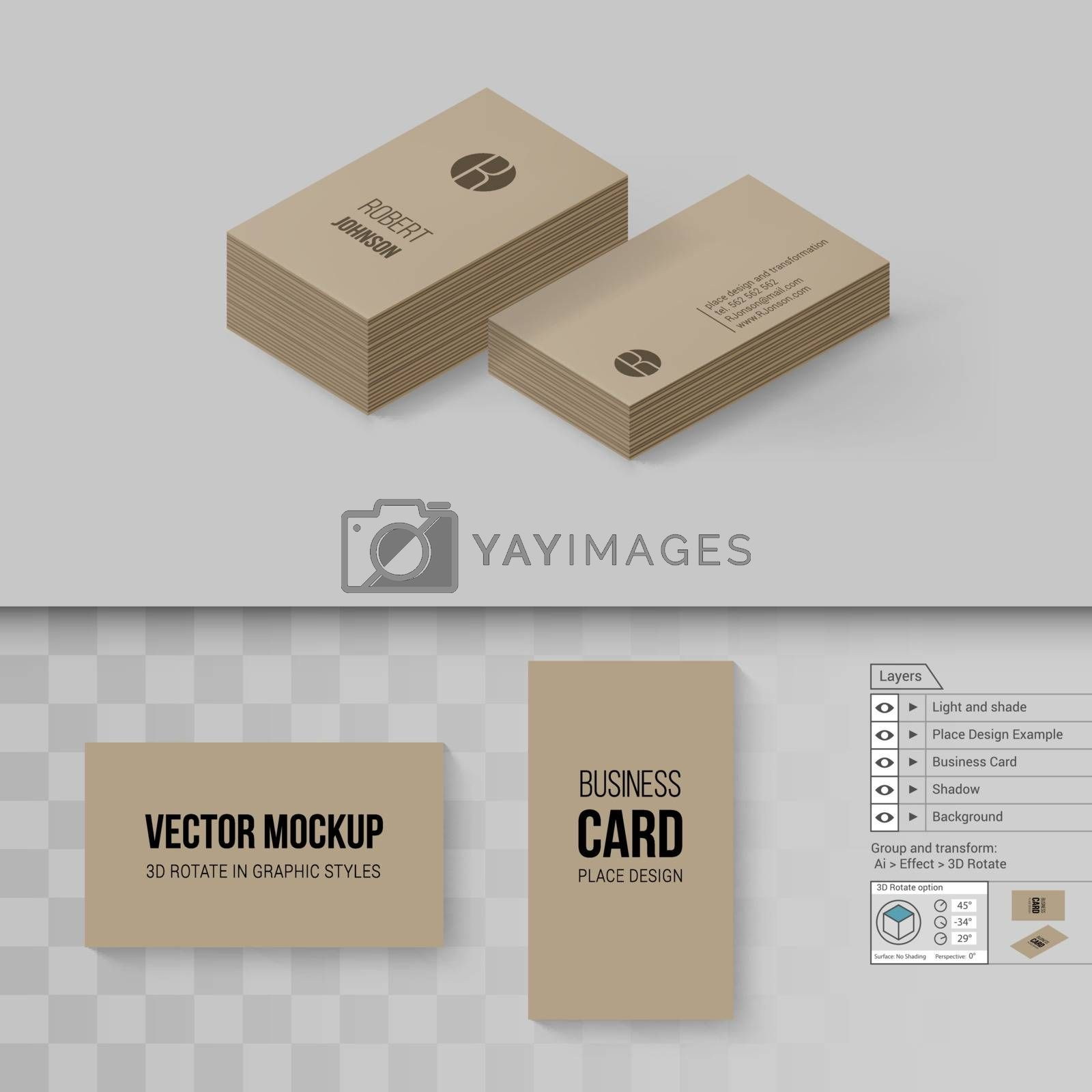 Brown Business Cards Template. Branding Mock Up with 3D Rotate Options