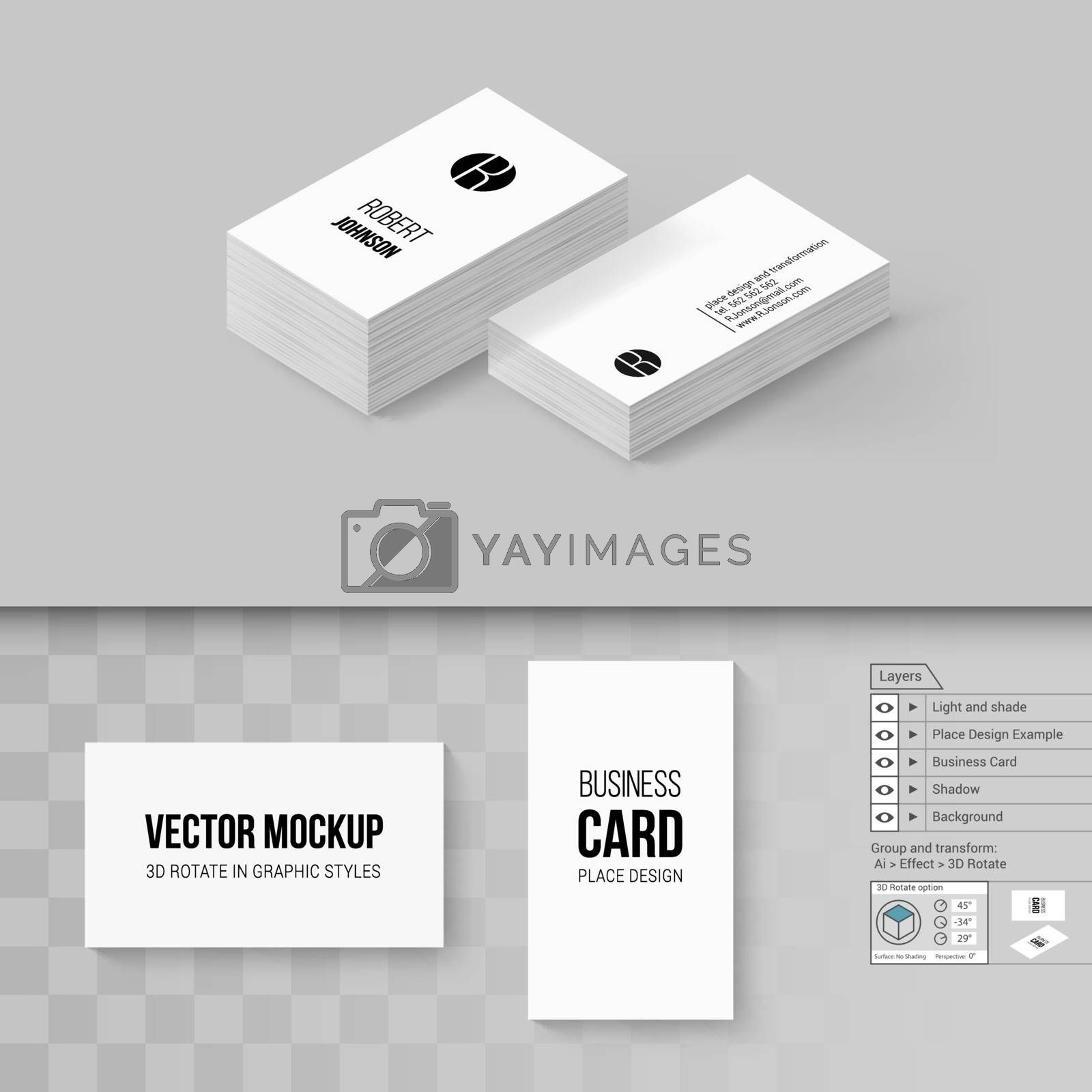Business Cards Template. Branding Mock Up with 3D Rotate Options