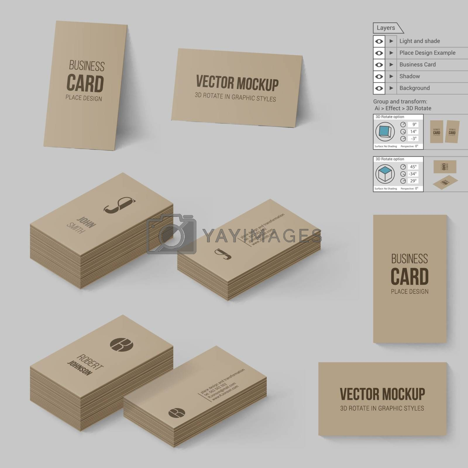 Brown Business Cards Template. Corporate Identity. Branding Mock Up with 3D Rotate Options