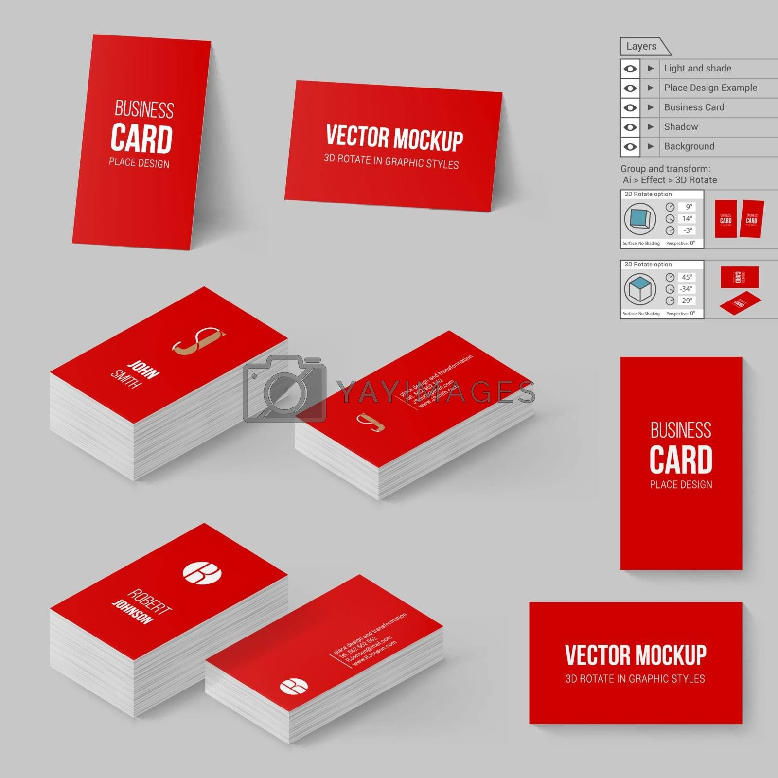 Red Business Cards Template. Corporate Identity. Branding Mock Up with 3D Rotate Options