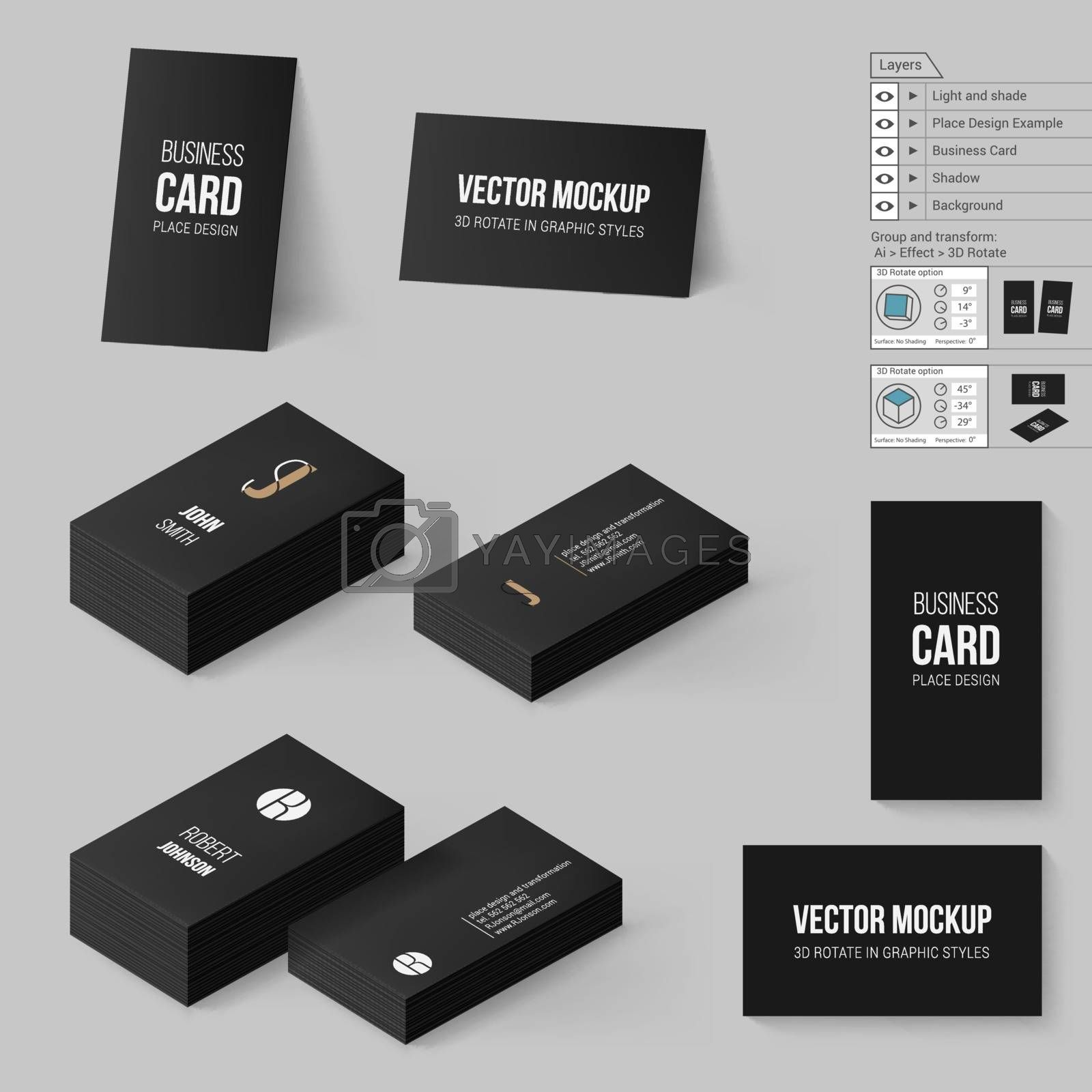 Black Business Cards Template. Corporate Identity. Branding Mock Up with 3D Rotate Options