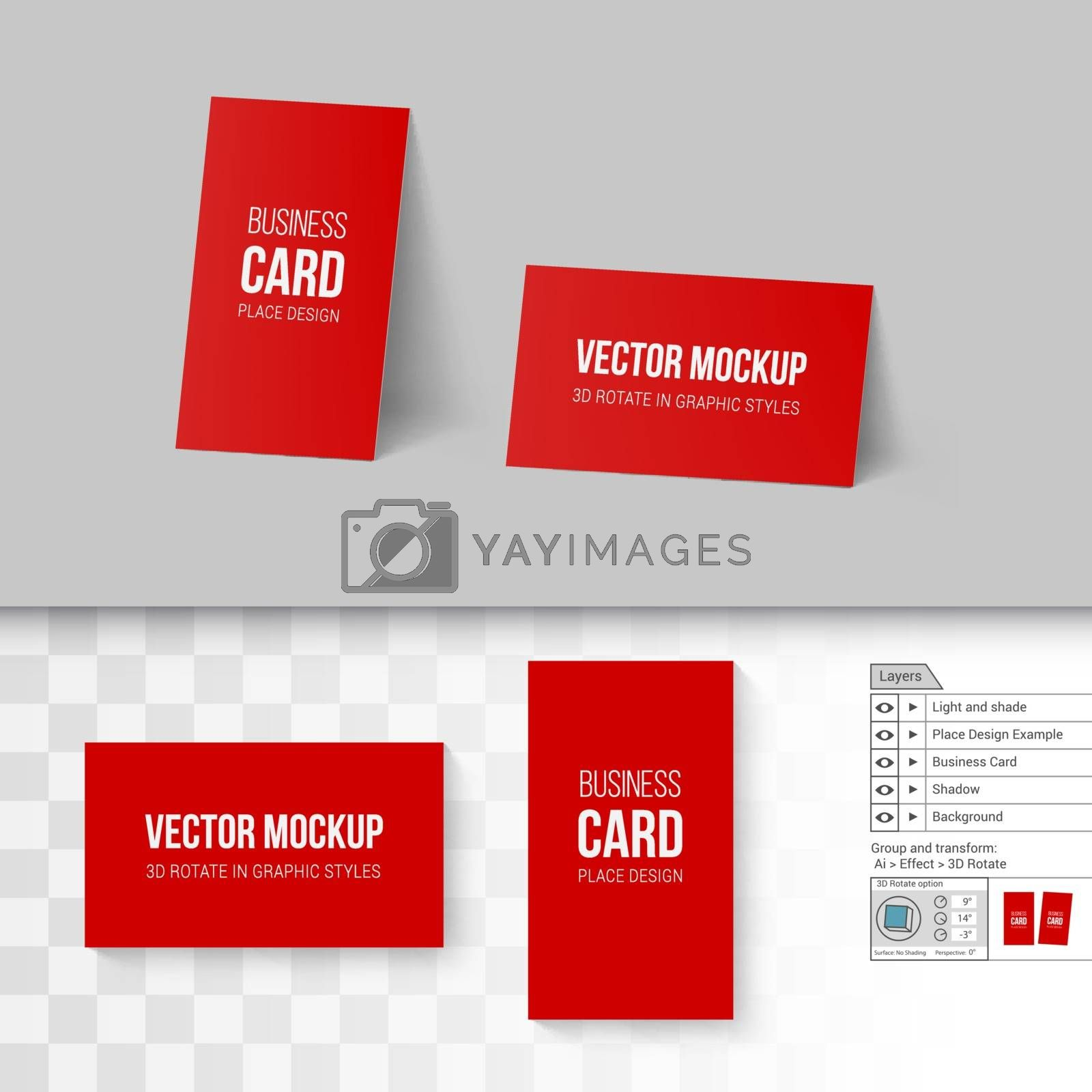 Red Business Cards Template. Corporate Identity. Branding Mock Up with 3D Rotate Options on Gray and Transparent Background