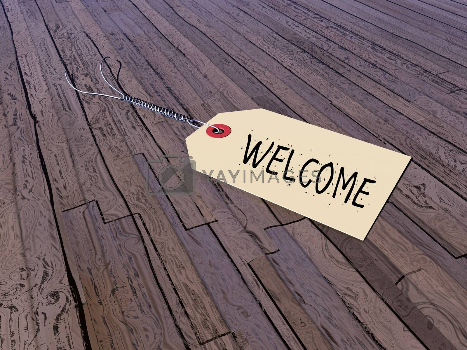 Tag or welcome on a vintage wooden floor - 3D render