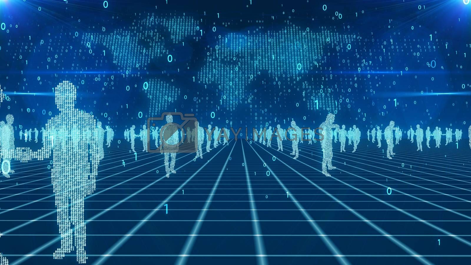 A futuristic 3d rendering of digital business people in light blue colors placed on a network from crossed lines. The digital blue world map with falling zeroes and ones is seen in the background.