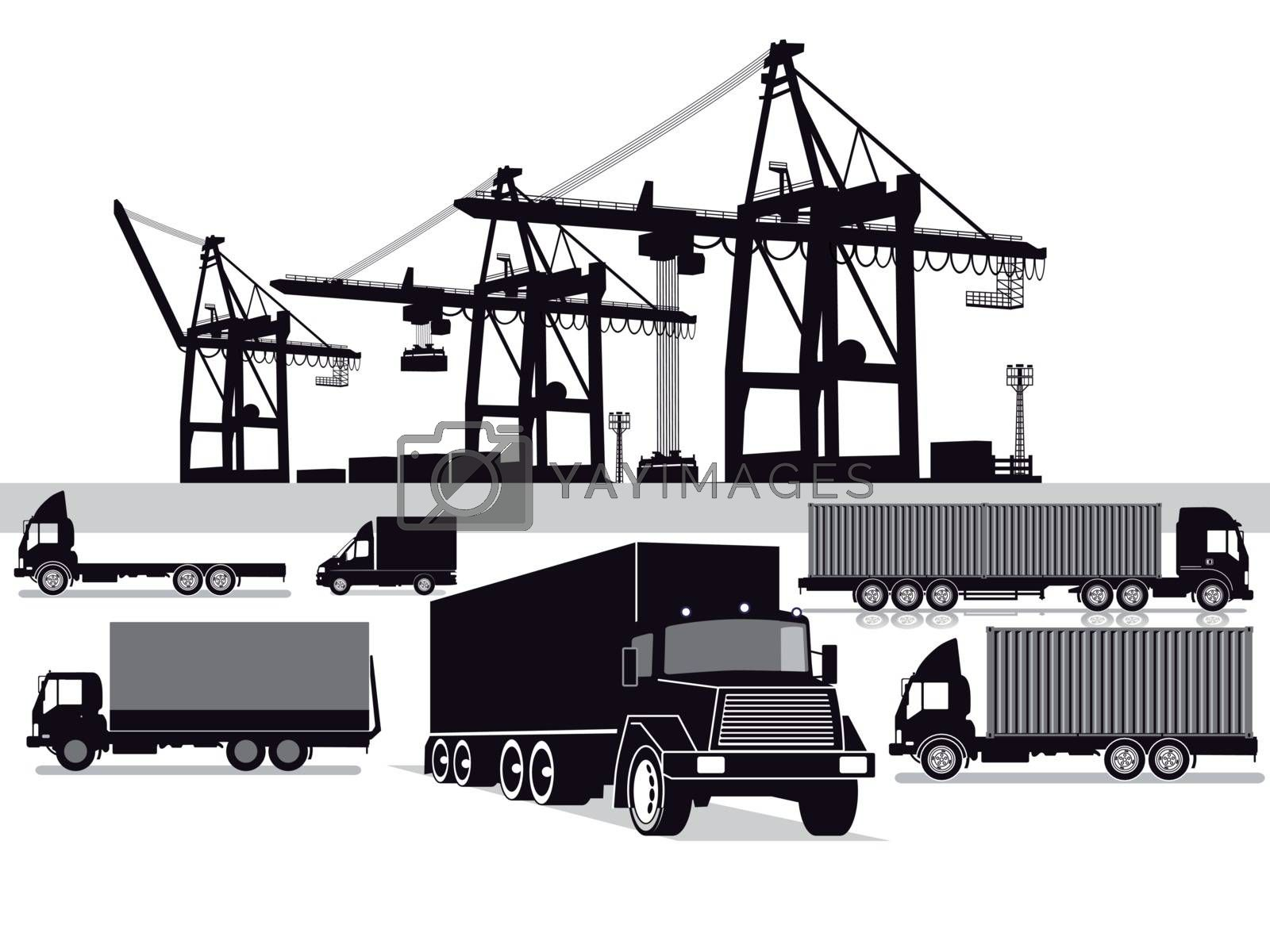 Freight, container transport, transport forwarding