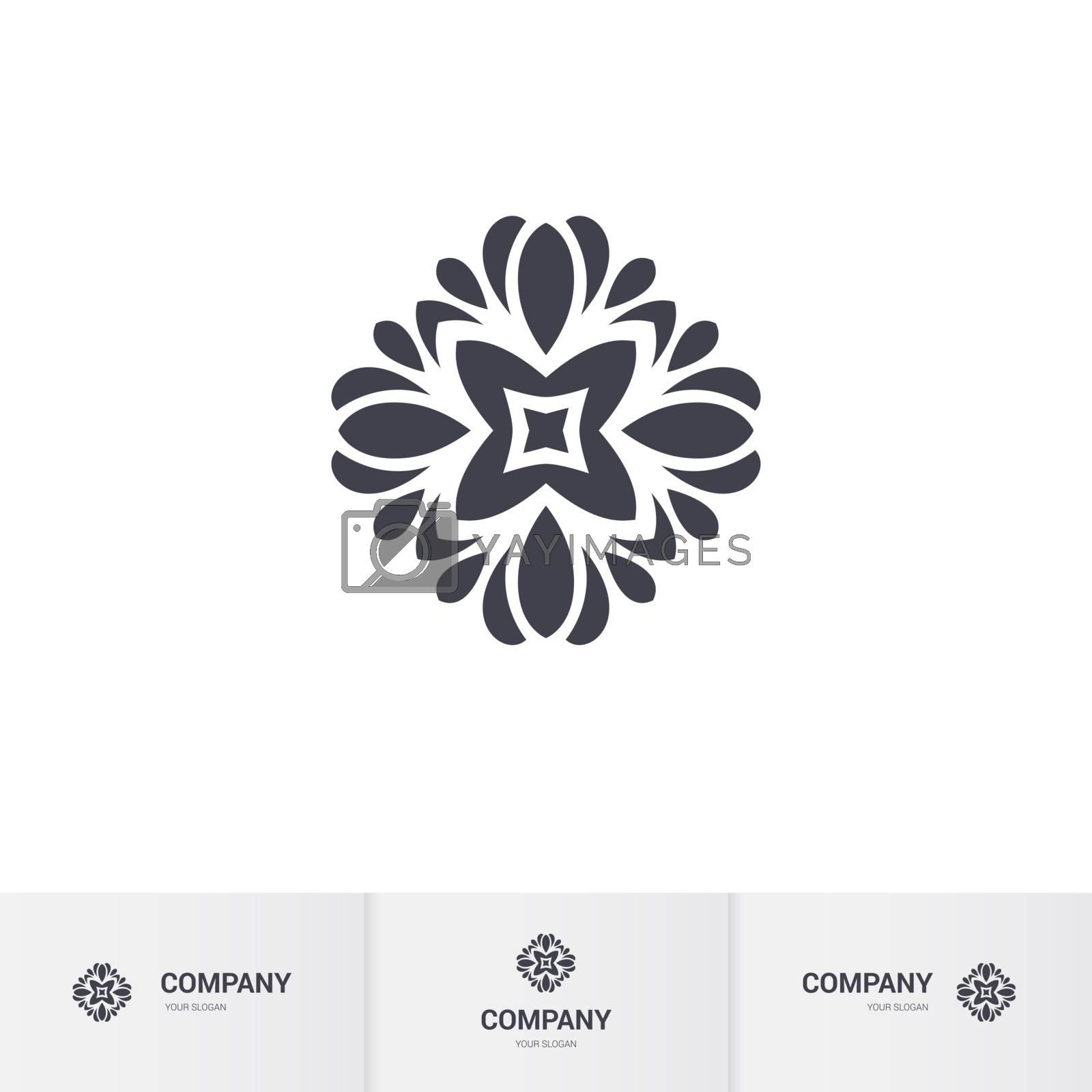 Floral Geometric Element for Circular Logo. Company Mark, Emblem, Element. Simple Geometric Mandala Logotype