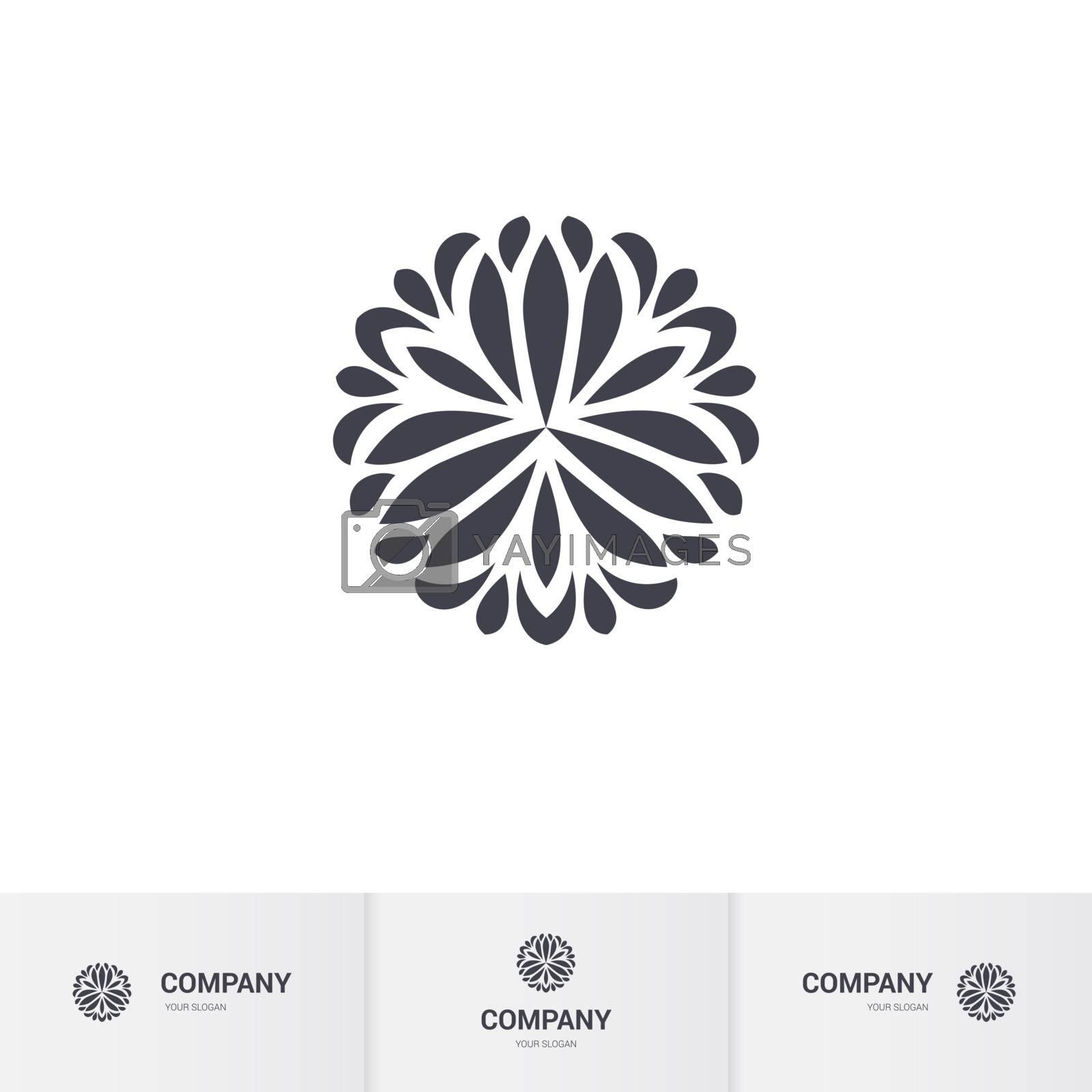 Abstract Floral Geometric Element for Circular Logo. Company Emblem, Element. Simple Geometric Mandala Logotype