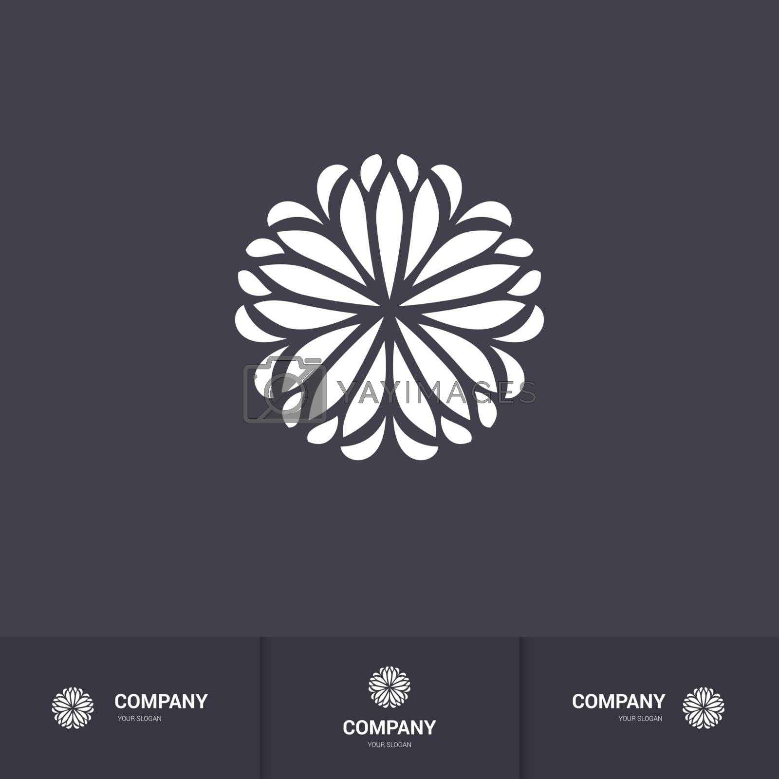 Abstract Floral Geometric Element for Circular Logo. Company Mark, Emblem. Simple Geometric Mandala Logotype on Dark Background