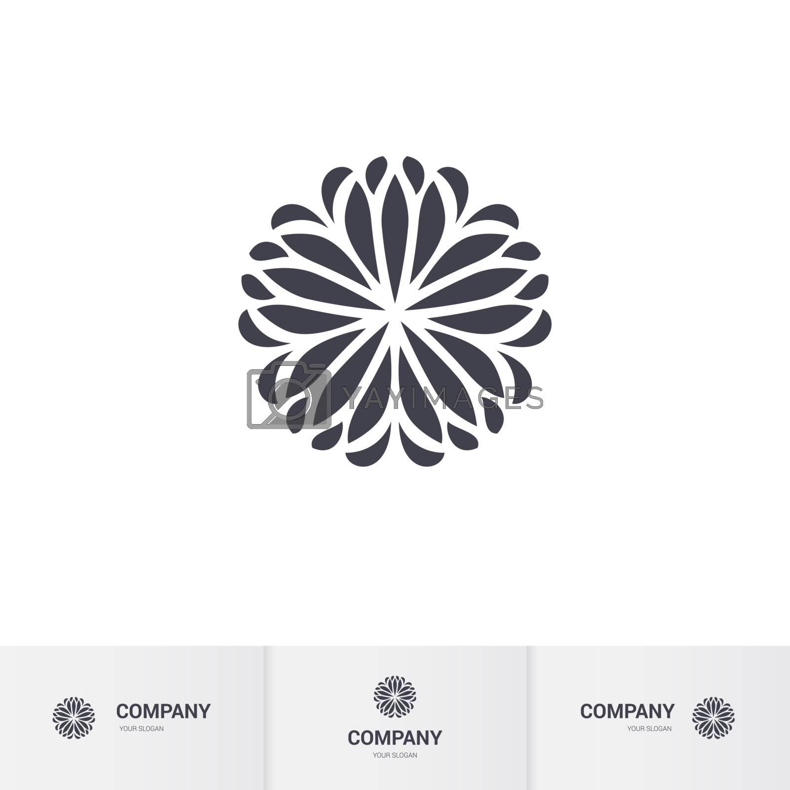 Abstract Floral Geometric Element for Circular Logo. Company Mark, Emblem. Simple Geometric Mandala Logotype