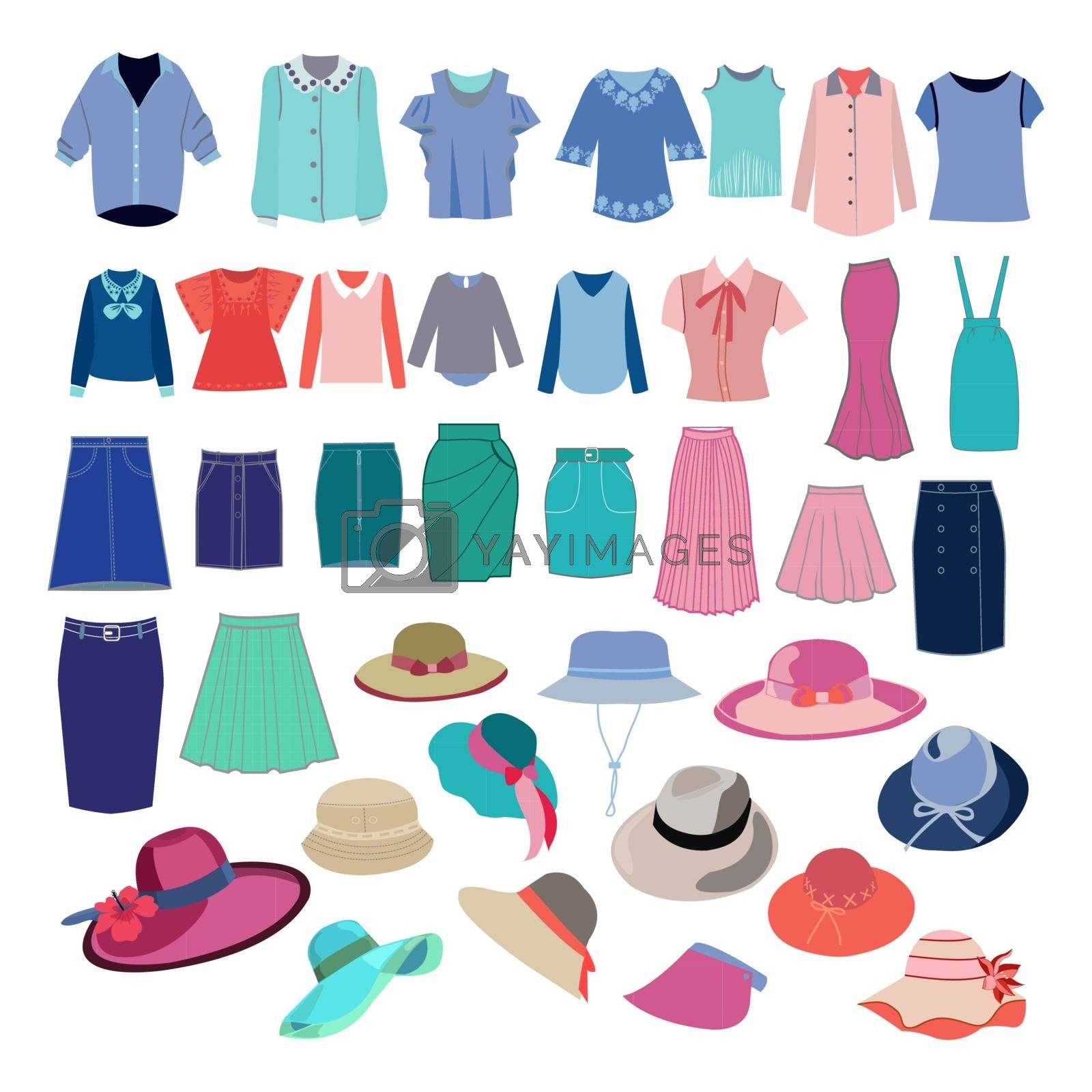 Set with different fashion cloth and accessories collection. Vector fashion women's shirts, skirts, hats for you design.