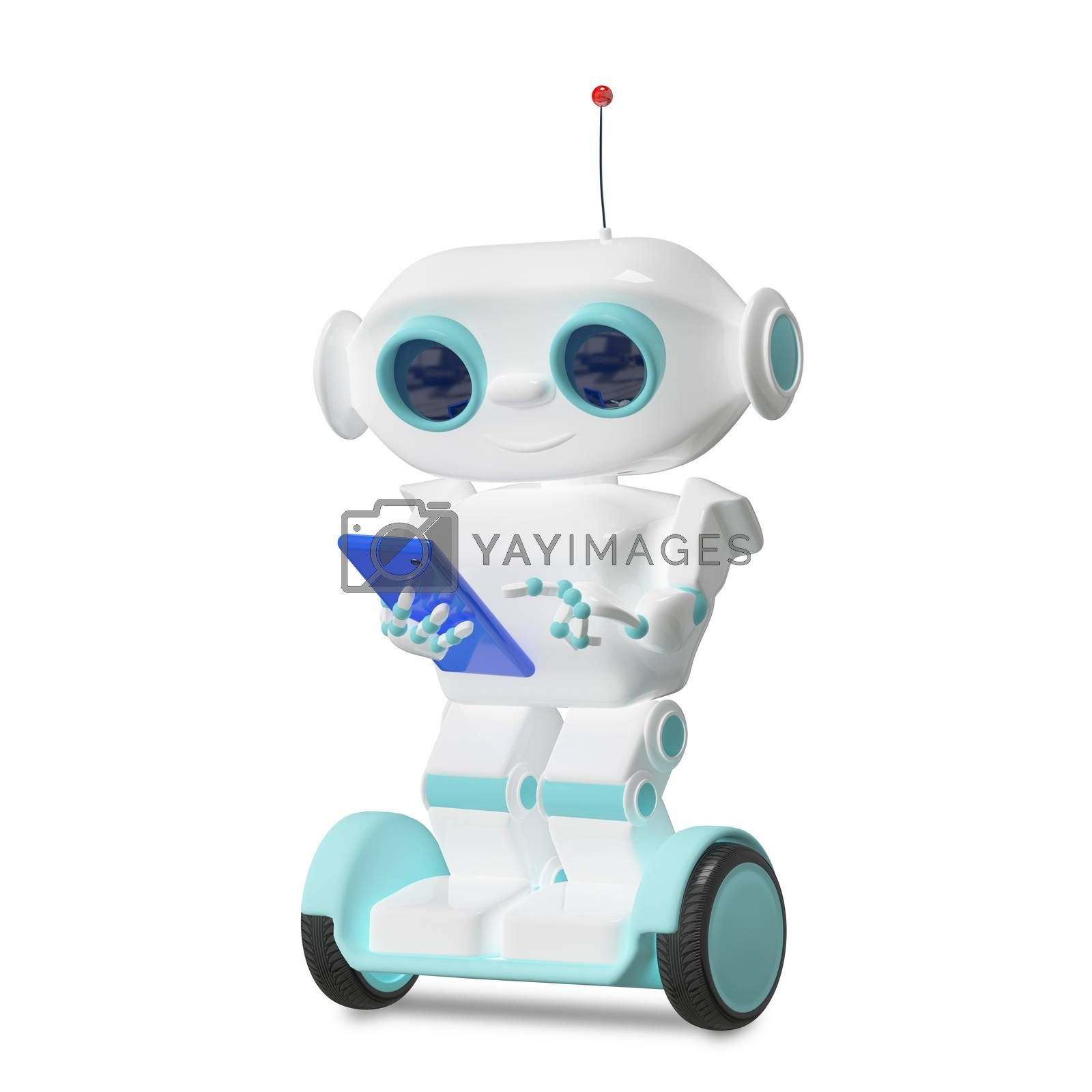 3D Illustration Robot on Scooter with Smartphone on a White Background
